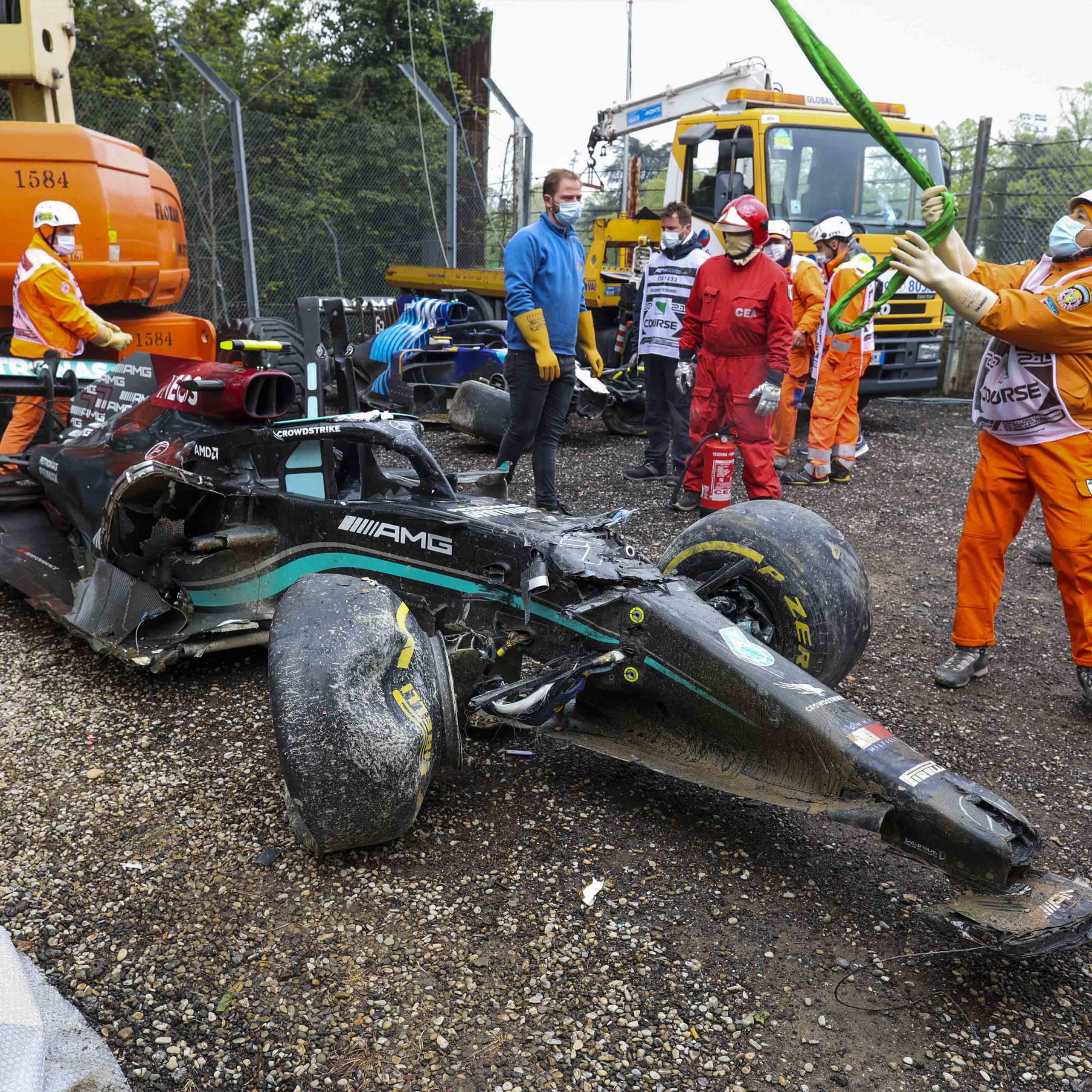 Mercedes of Valtteri Bottas after crashing out of the 2021 Emilia Romagna Grand Prix