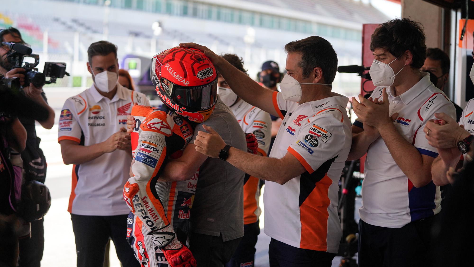 Marc Marquez congratulated by pit crew after the 2021 MotoGP Portuguese GP