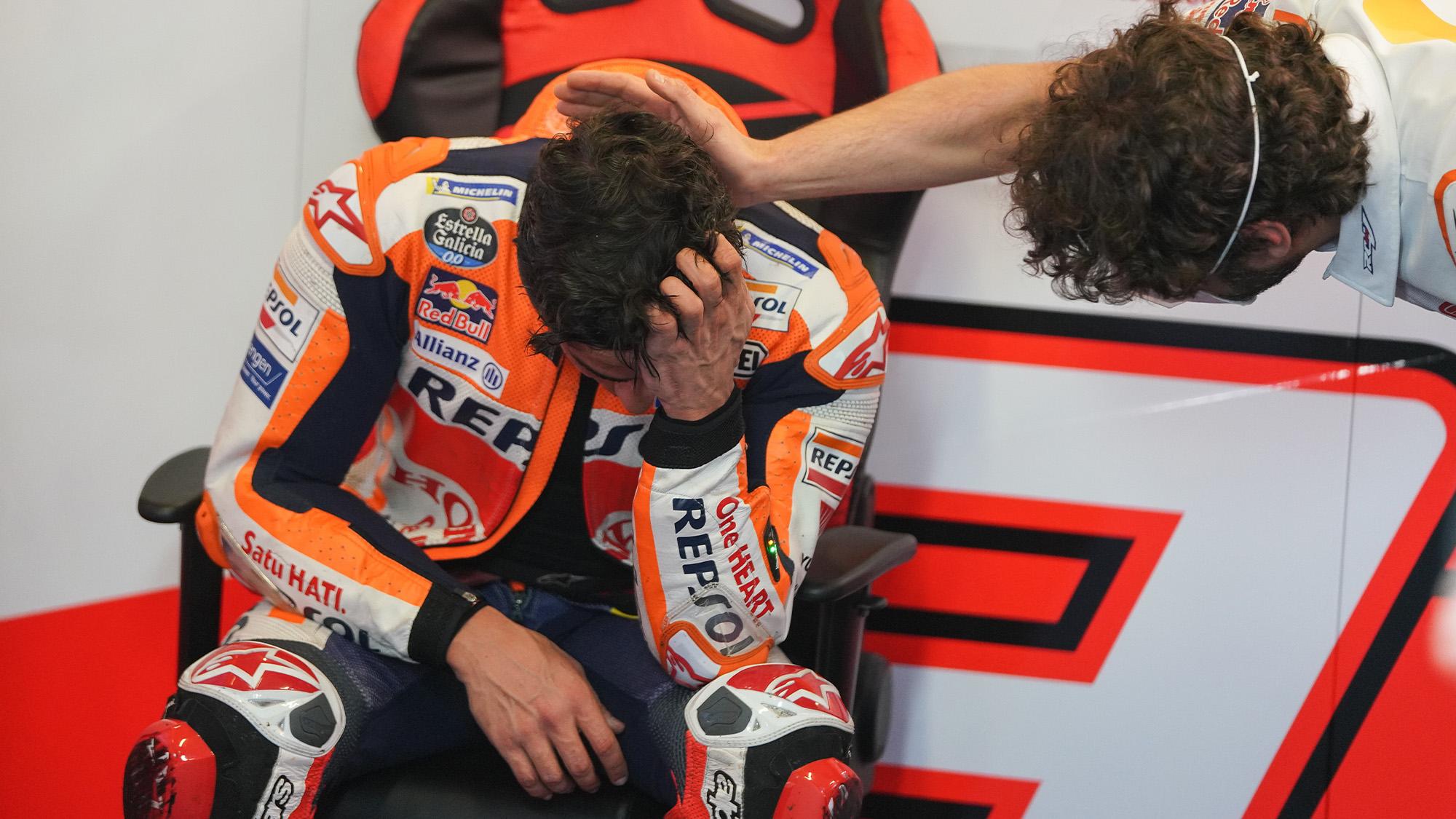 An emotional Marc Marquez after the 2021 MotoGP Portuguese GP