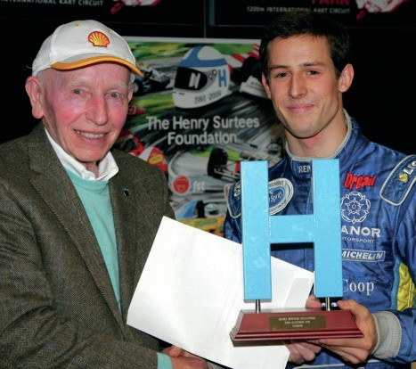 Alexander Sims receives Henry Surtees trophy from John Surtees