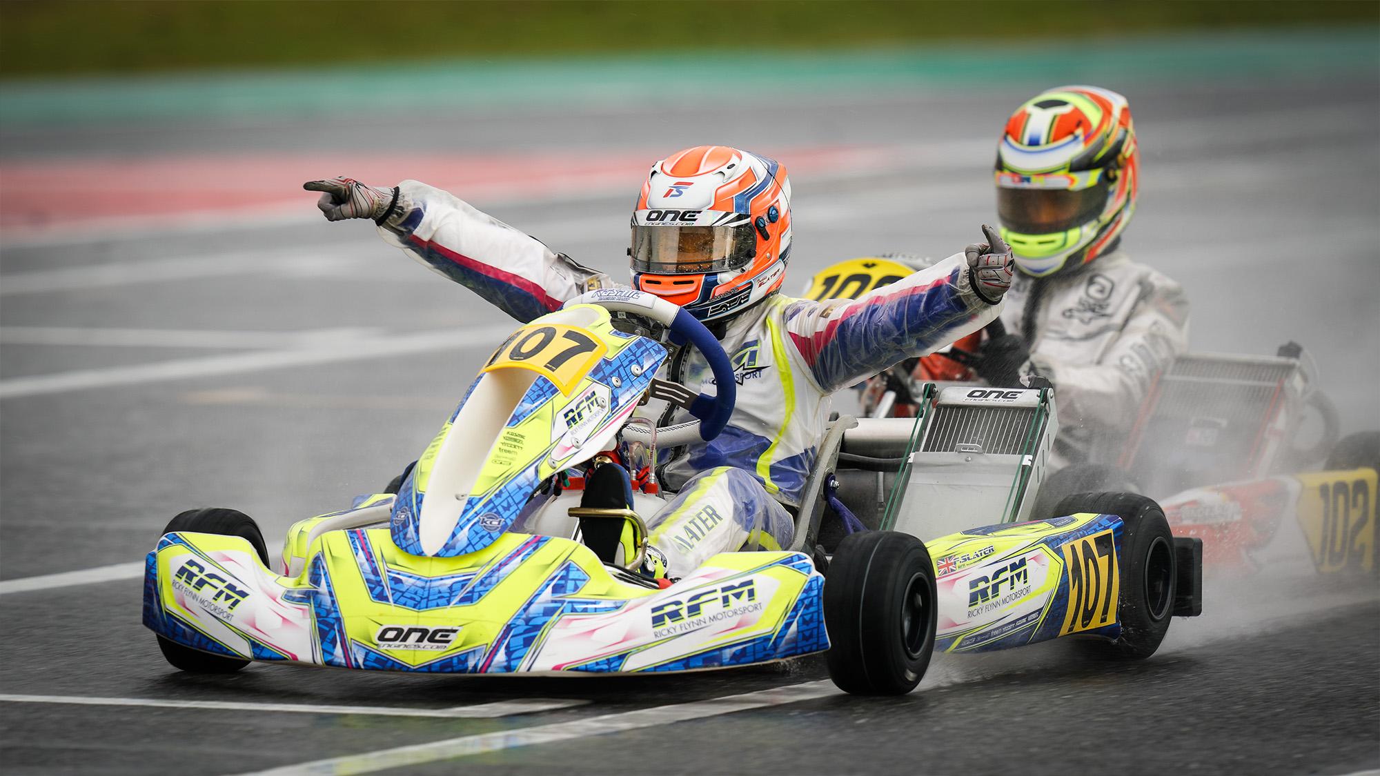 Freddie Slater wins in Portimao last year to become 2020 OK-Junior World Champion