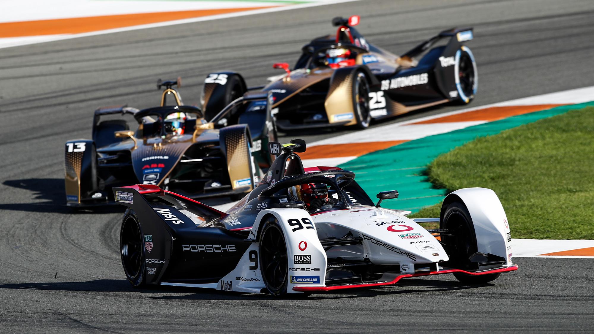 Formula E cars during 2020 Valencia test