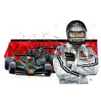 Product image for Mario Andretti hand signed Lotus 1978   David Johnson   Limited Edition print