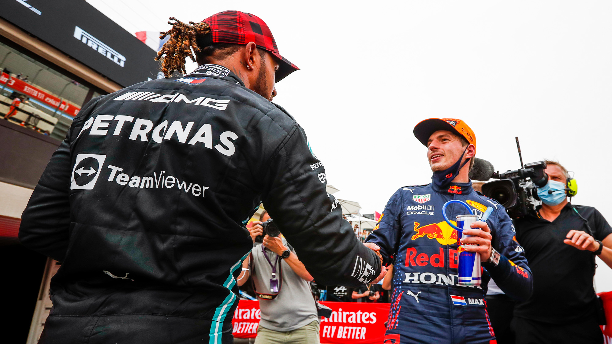 Lewis Hamilton shakes Max Verstappen's hand at the 2021 French Grand Prix
