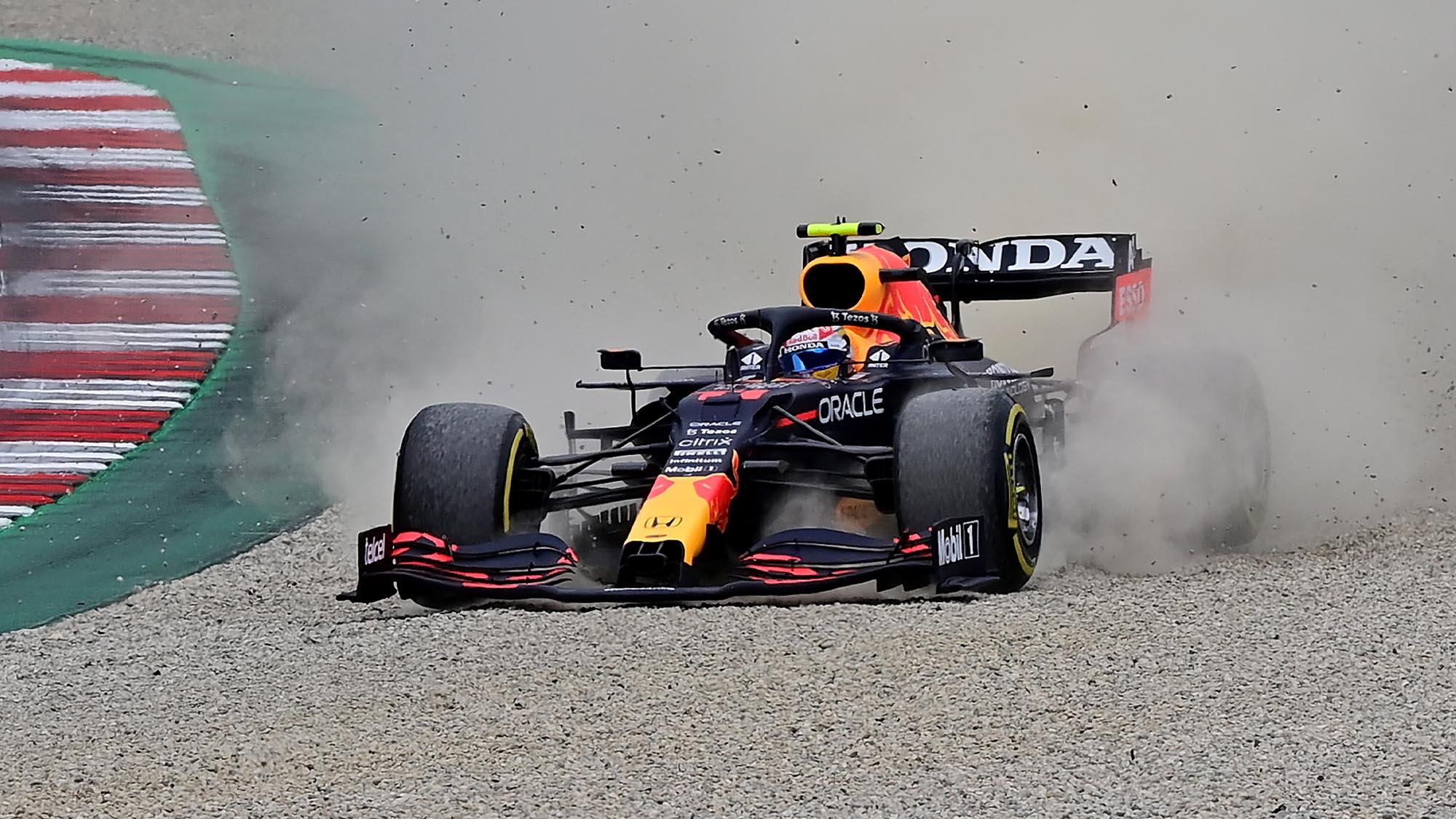 Sergio Perez in the gravel at the 2021 Austrian Grand Prix