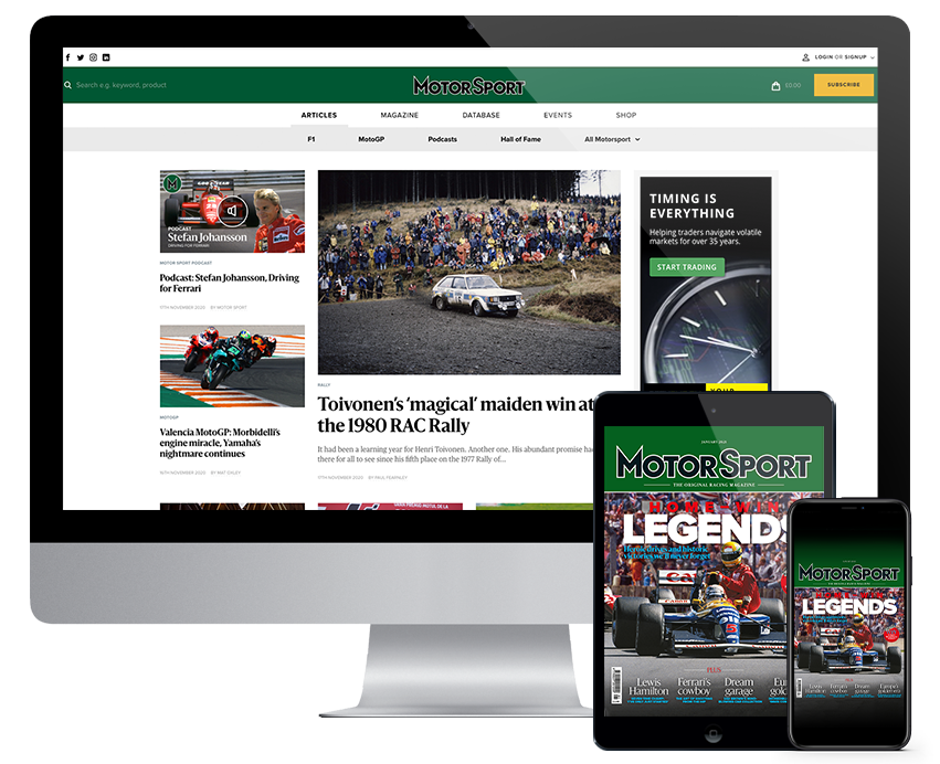 Motorsport Magazine website on Imac screen, Motorsport Magazine with F1 cover on an Ipad and iphone screen.
