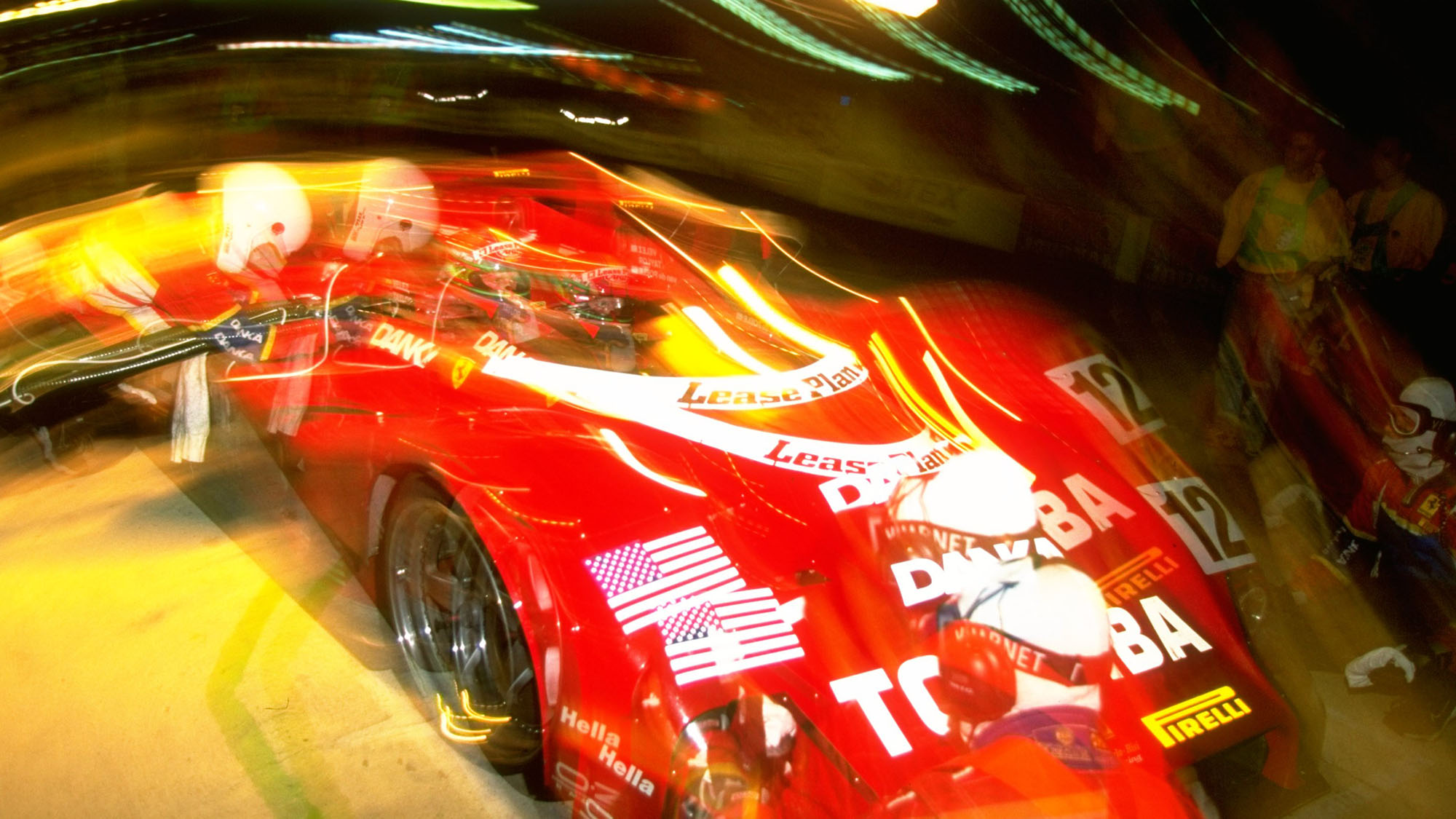 6-7 Jun 1998: Impression of the Doyle-Risi Racing Ferrari 333SP driven by Wayne Taylor of South Africa, Eric van der Poele of Belgium and Fermin Velez of Spain during the Le Mans 24 Hour Endurance Race at the Circuit de la Sarthe in Le Mans, France. Taylor, Van de Poele and Velez finished in eighth place after 332 laps. \ Mandatory Credit: Stu Forster/Allsport