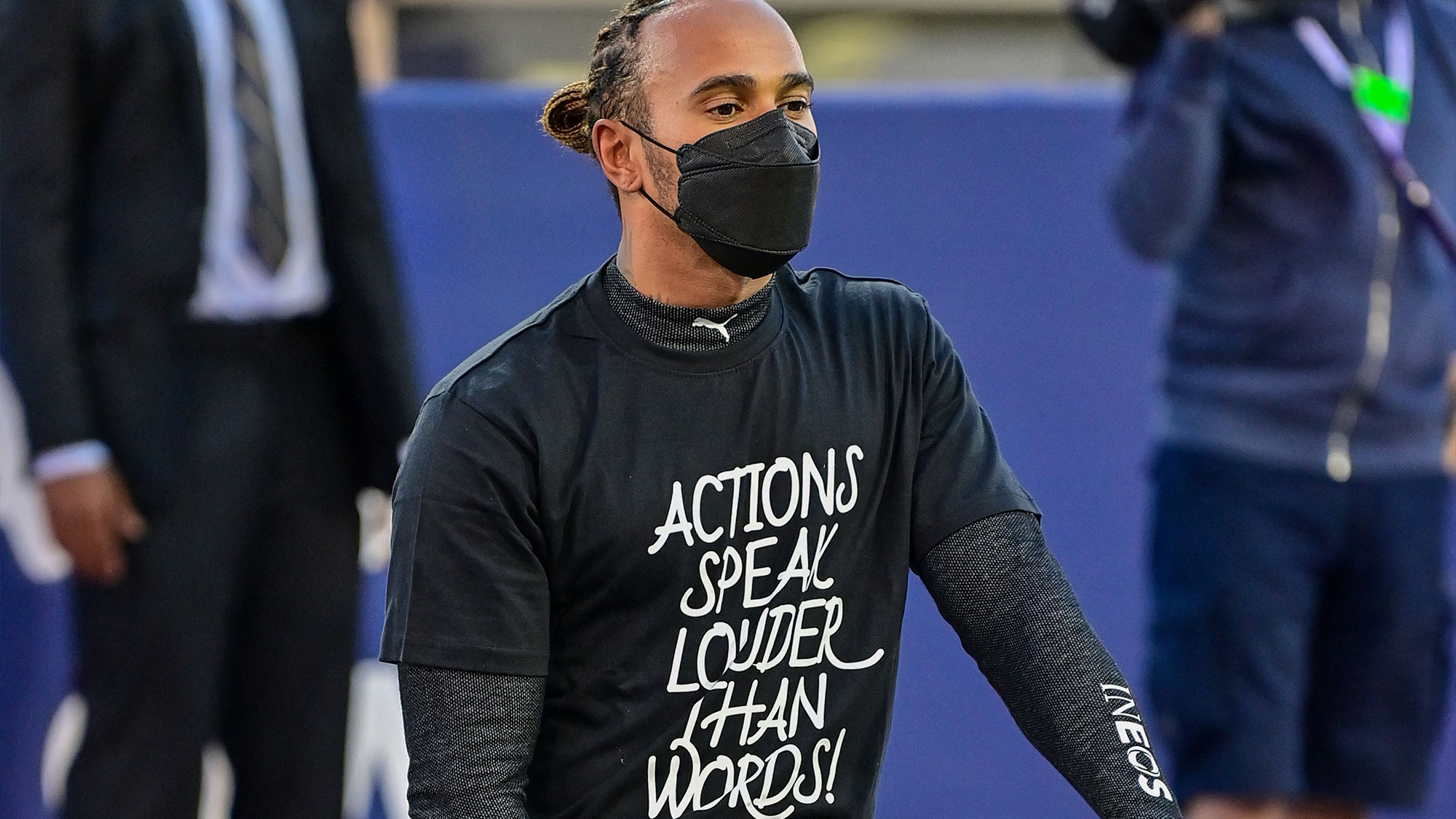 Lewis Hamilton with actions speak louder than words t-shirt