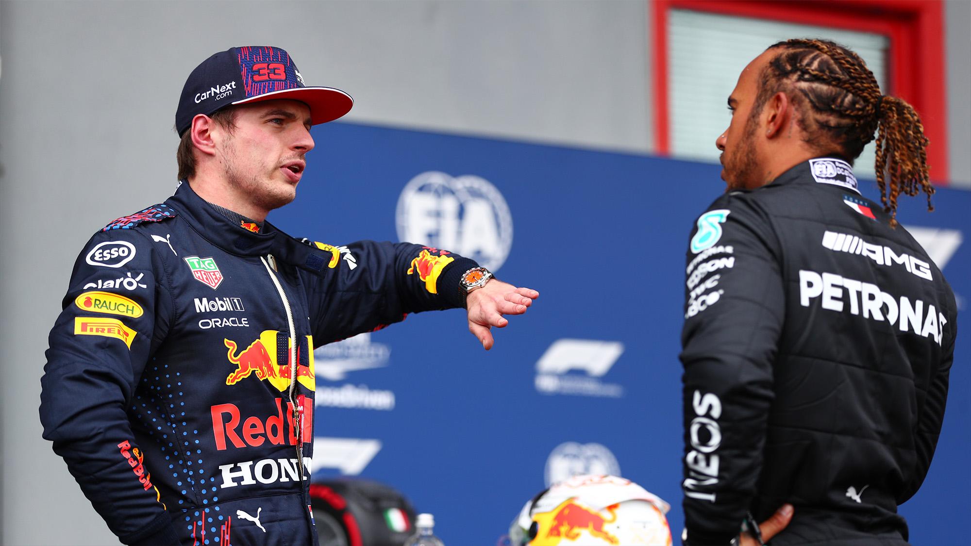 Max Verstappen speaks to Lewis Hamilton at the 2021 Emilia Romagna Grand Prix