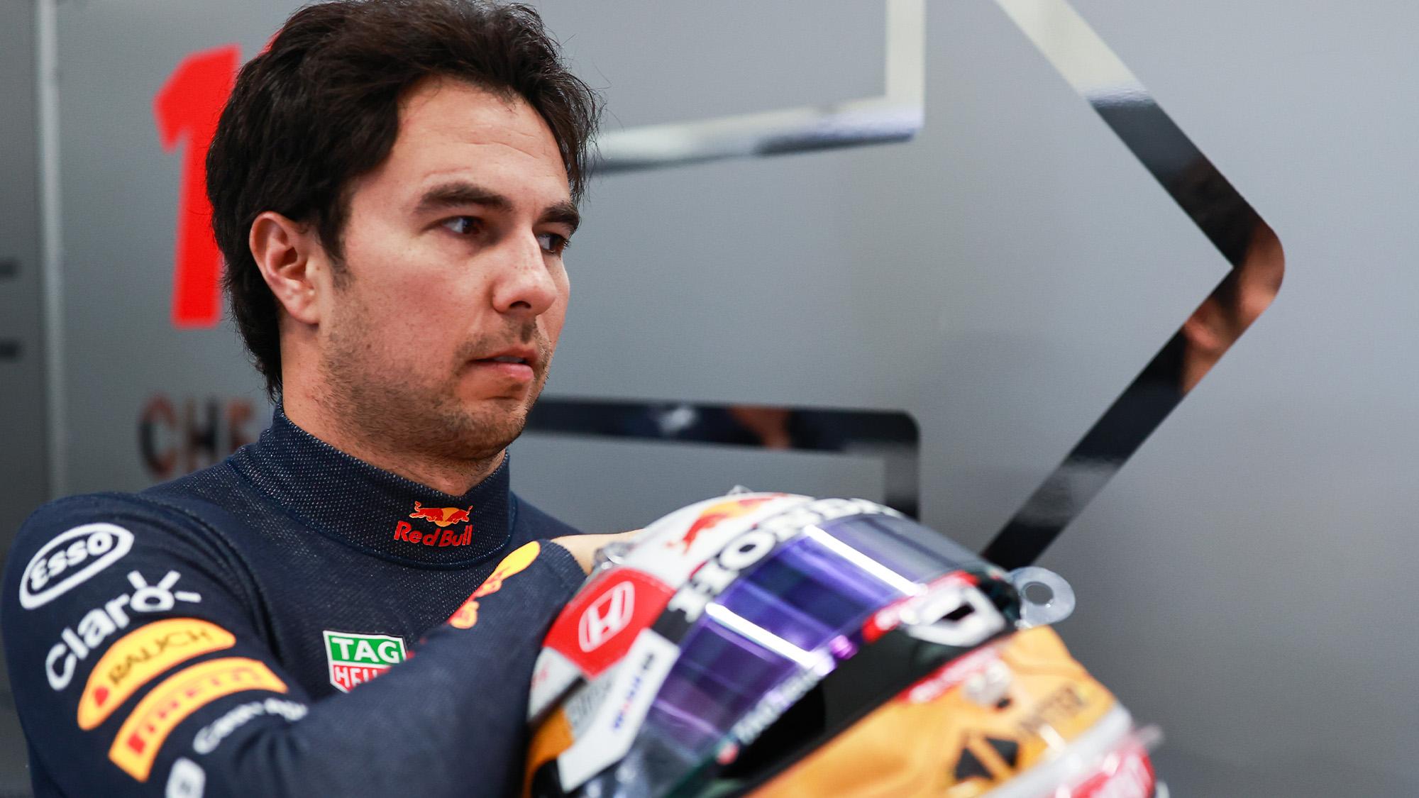 Sergio Perez with his crash helmet in 2021