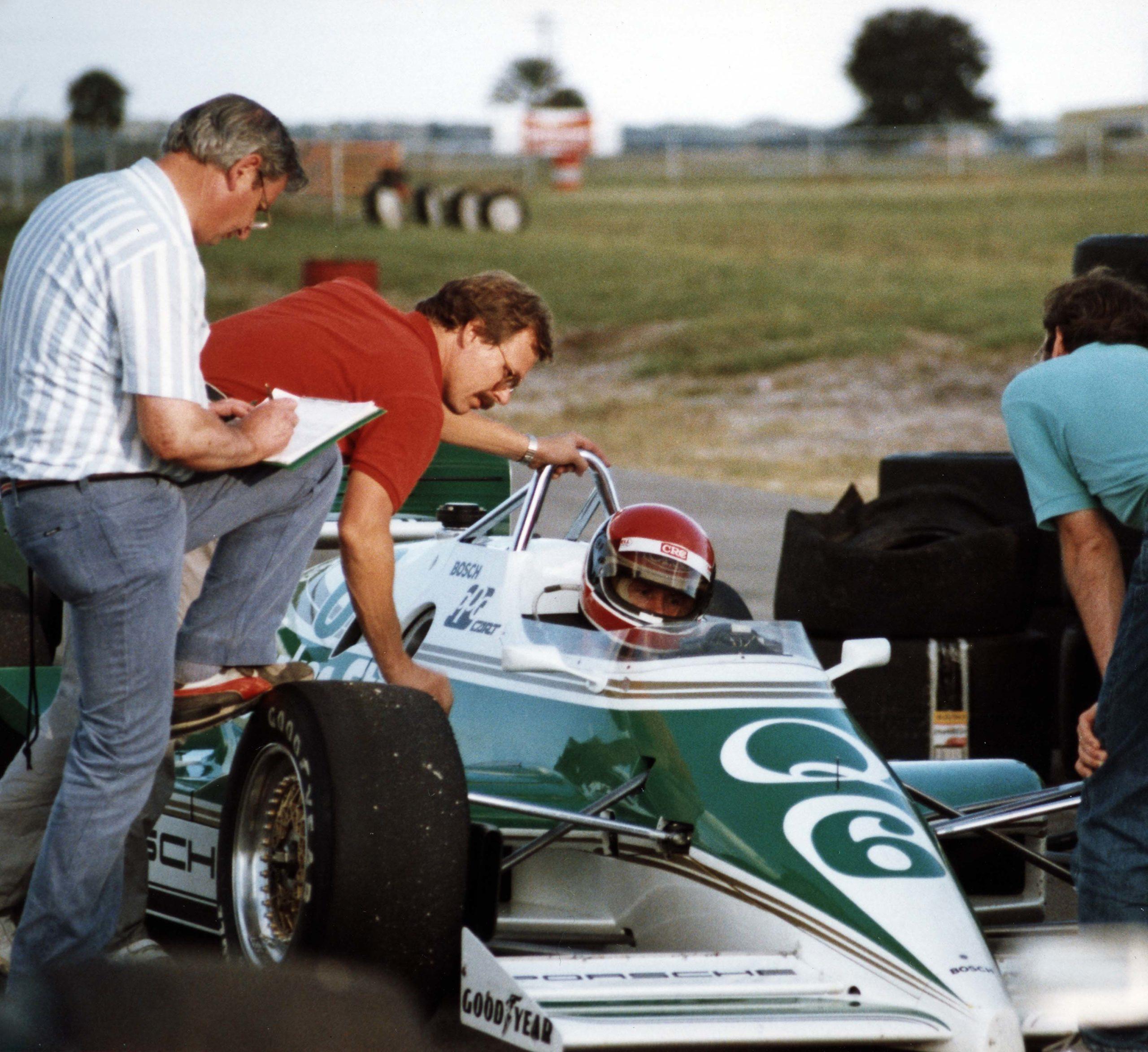 Norbert Singer and Al Holbert with Porsche 2708 IndyCar