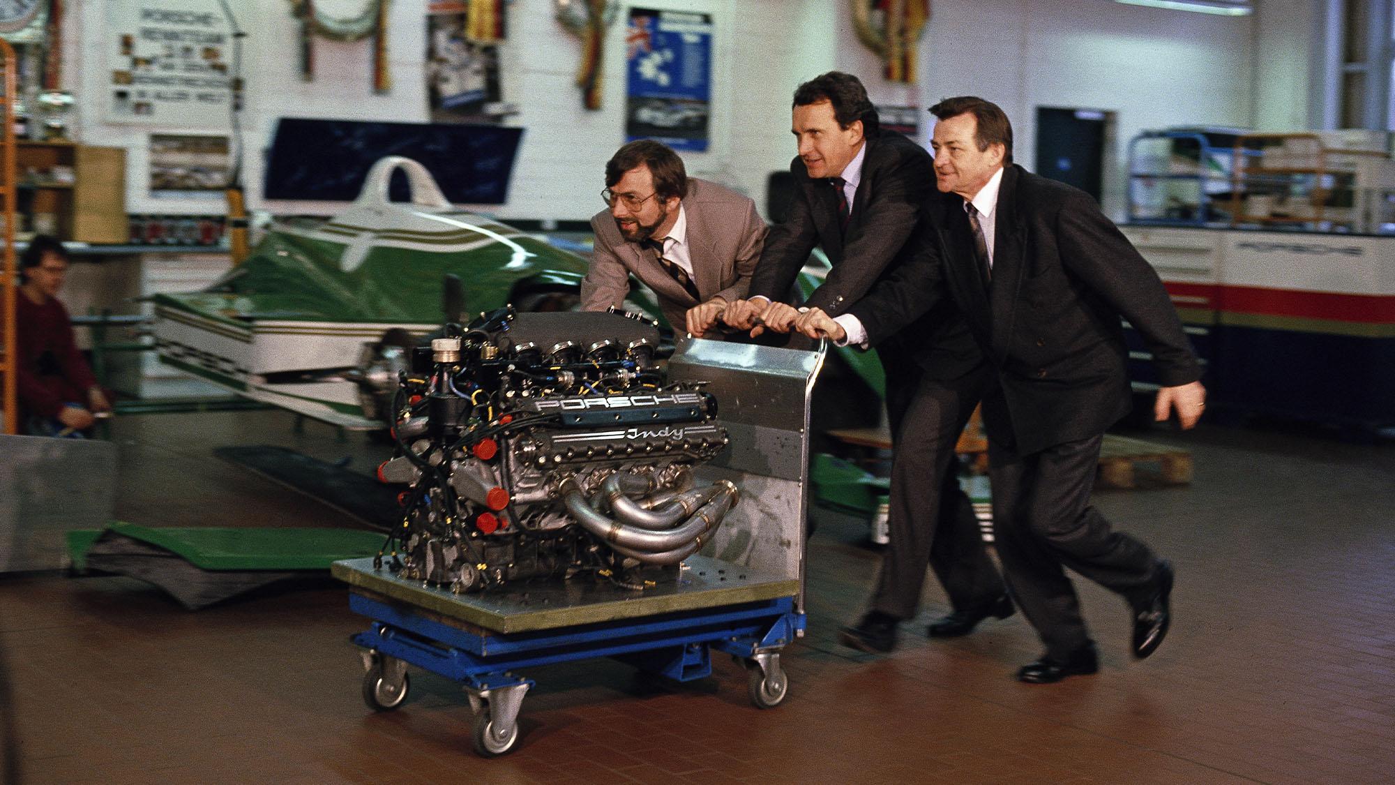 Hans-Joachim Esch, Helmut Flegl, Hans Mezger with Porsche 1990 Indycar engine