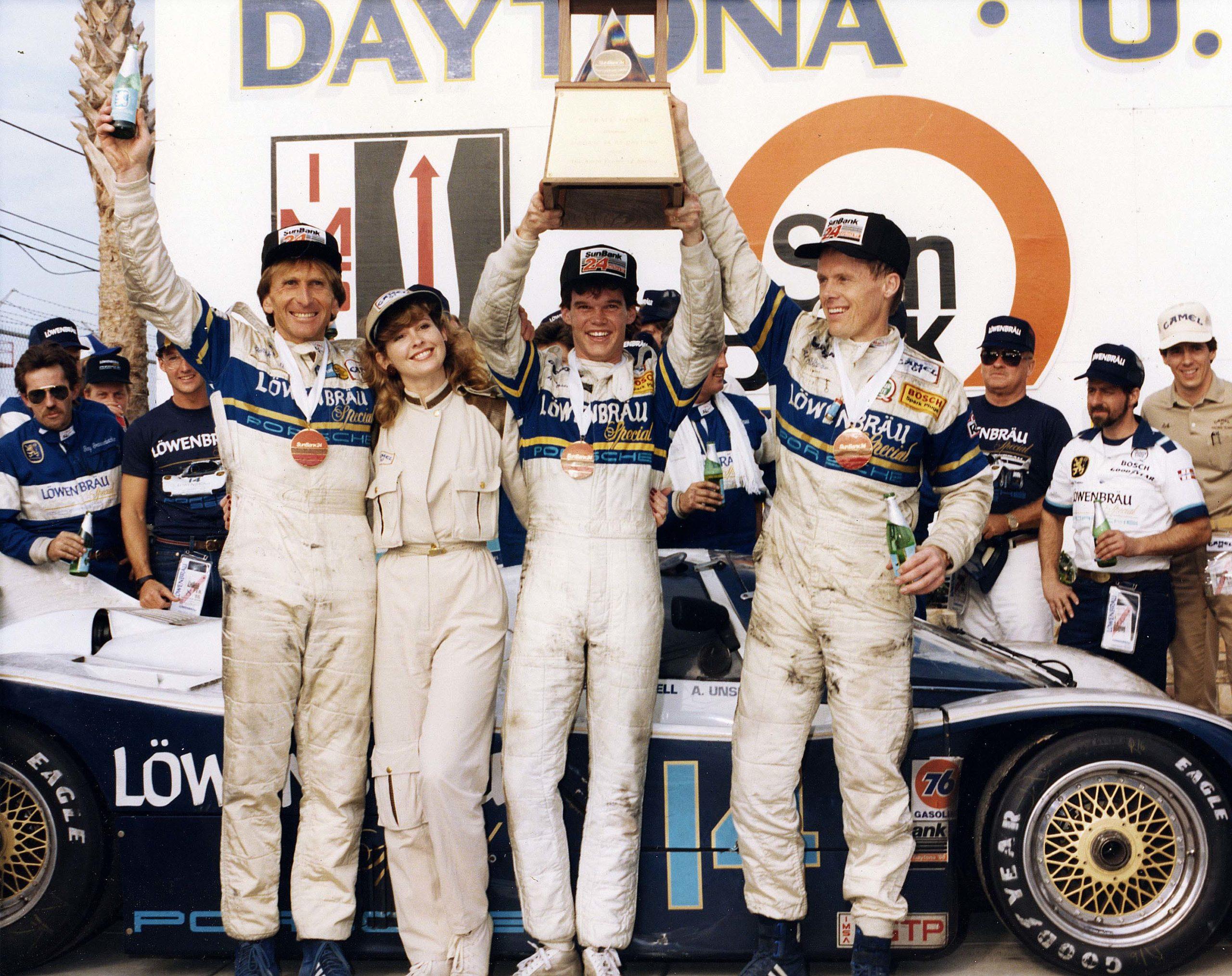 Derek-Bell-Al-Unser-Jr-and-Al-Holbert-after-winning-Daytona-in-1986