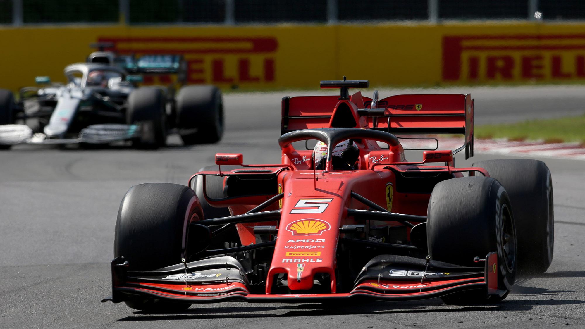 Sebastian Vettel ahead of Lewis Hamilton at the 2019 Canadian Grand Prix