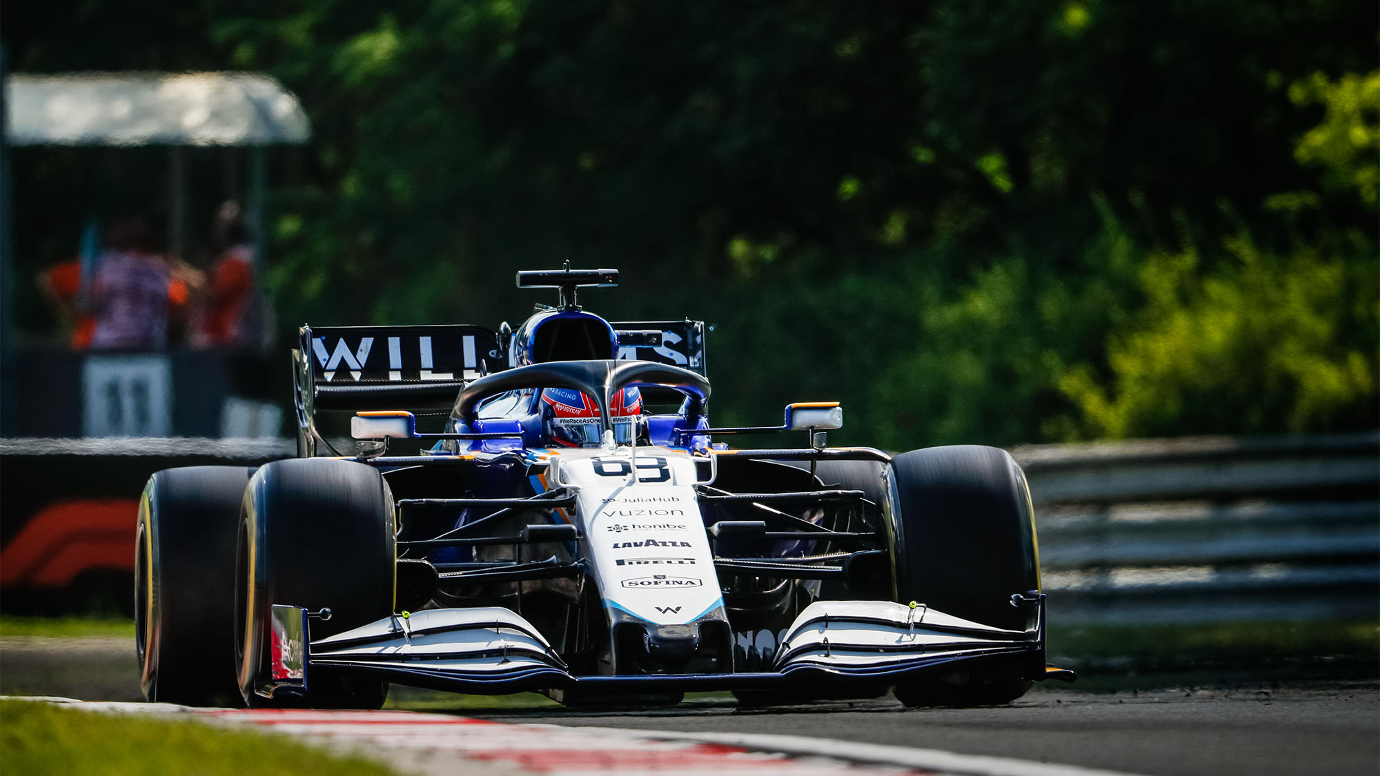 63 RUSSELL George (gbr), Williams Racing F1 FW43B, action during the Formula 1 Magyar Nagydij 2021, Hungarian Grand Prix, 11th round of the 2021 FIA Formula One World Championship from July 30 to August 1, 2021 on the Hungaroring, in Mogyorod, near Budapest, Hungary - Photo Antonin Vincent / DPPI