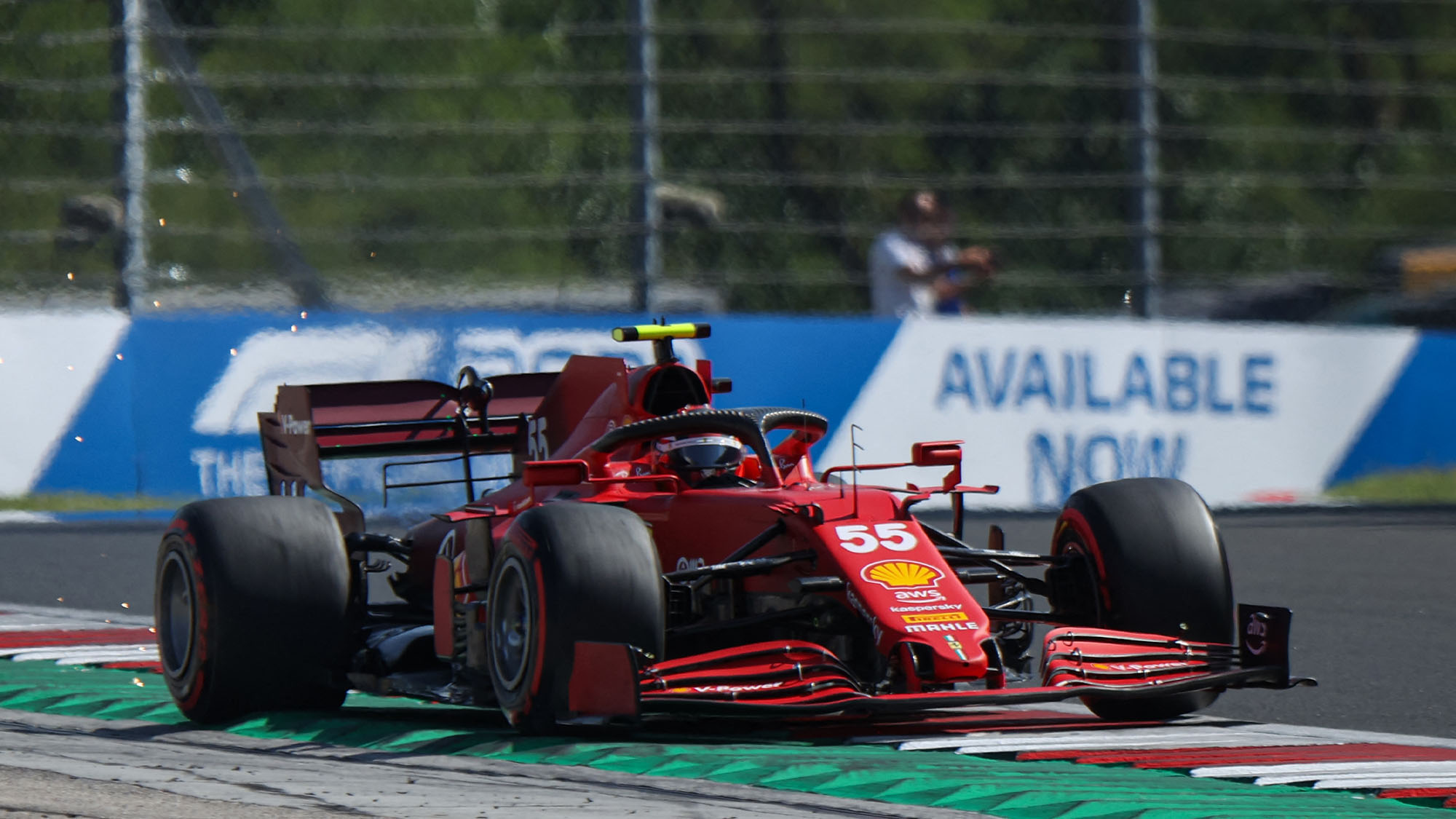 Ferrari's Spanish driver Carlos Sainz Jr drives during the second practice session at the Hungaroring race track in Mogyorod near Budapest on July 30, 2021, ahead of the Formula One Hungarian Grand Prix. (Photo by FERENC ISZA / AFP) (Photo by FERENC ISZA/AFP via Getty Images)