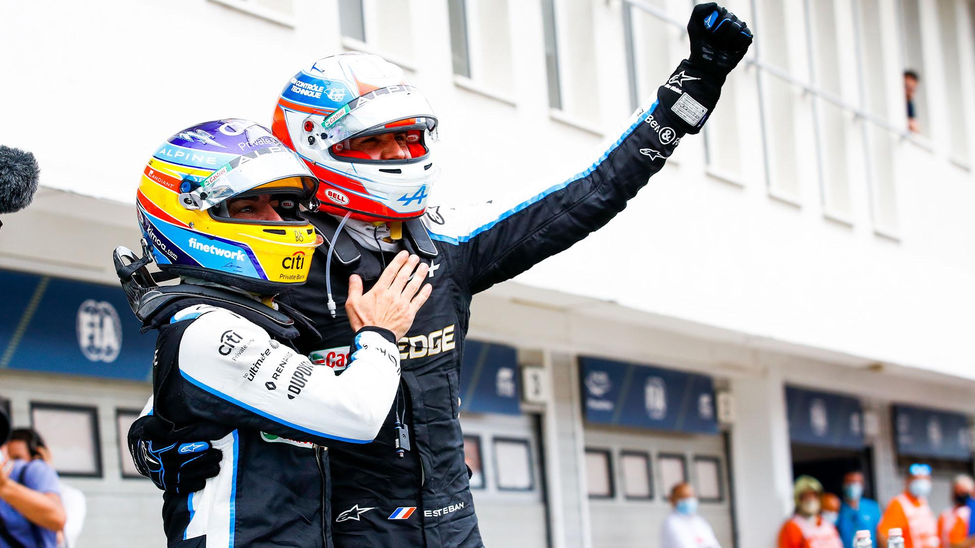 Fernando Alonso and Estebn Ocon after the 2021 Hungarian Grand Prix