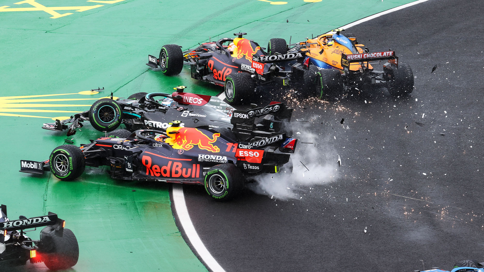 Turn one crash at the 2021 Hungarian Grand Prix
