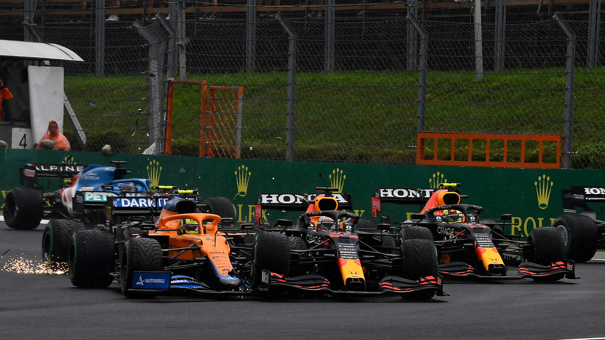 First corner crash at the 2021 Hungarian Grand Prix