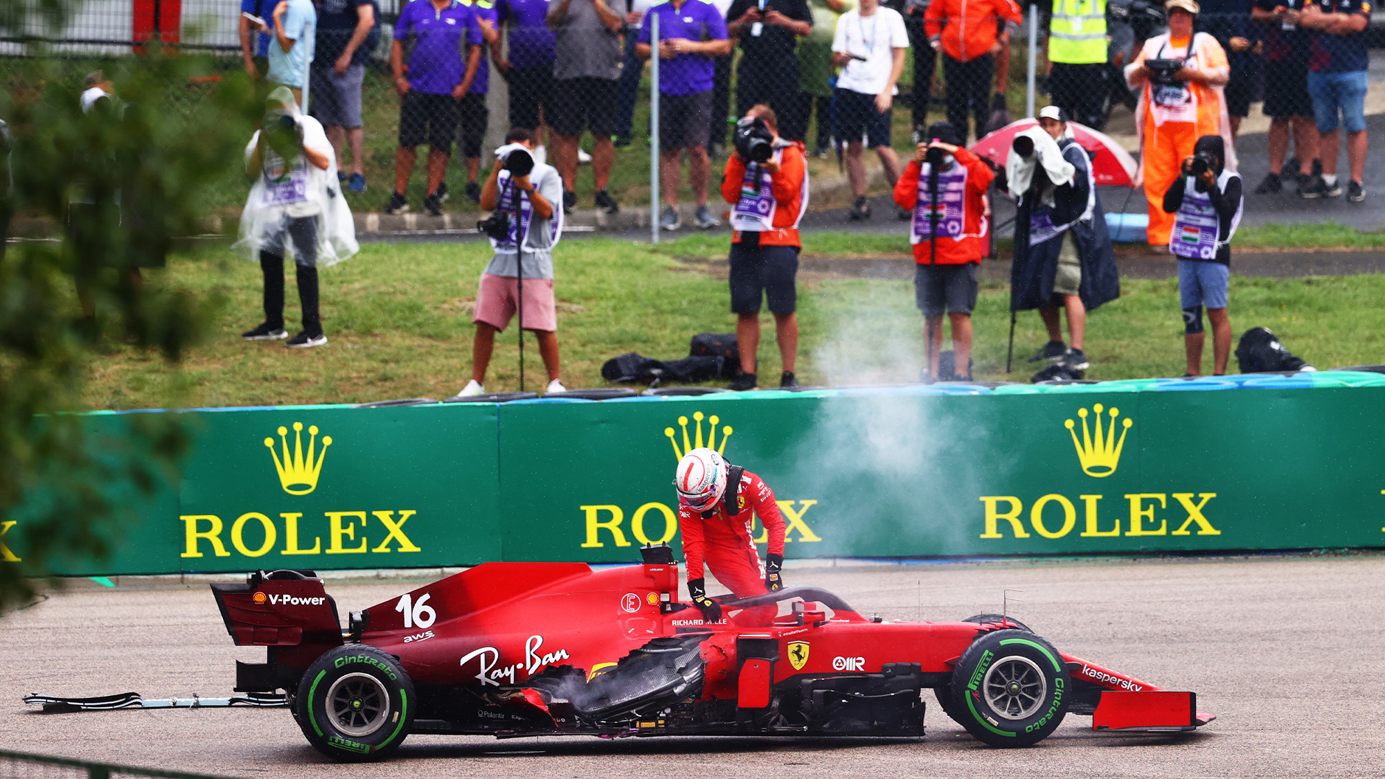 Charles Leclerc retires from the 2021 Hungarian Grand Prix