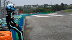 Valtteri Bottas sits on the tyre barrier after crashing out of the 2021 Hungarian Grand Prix