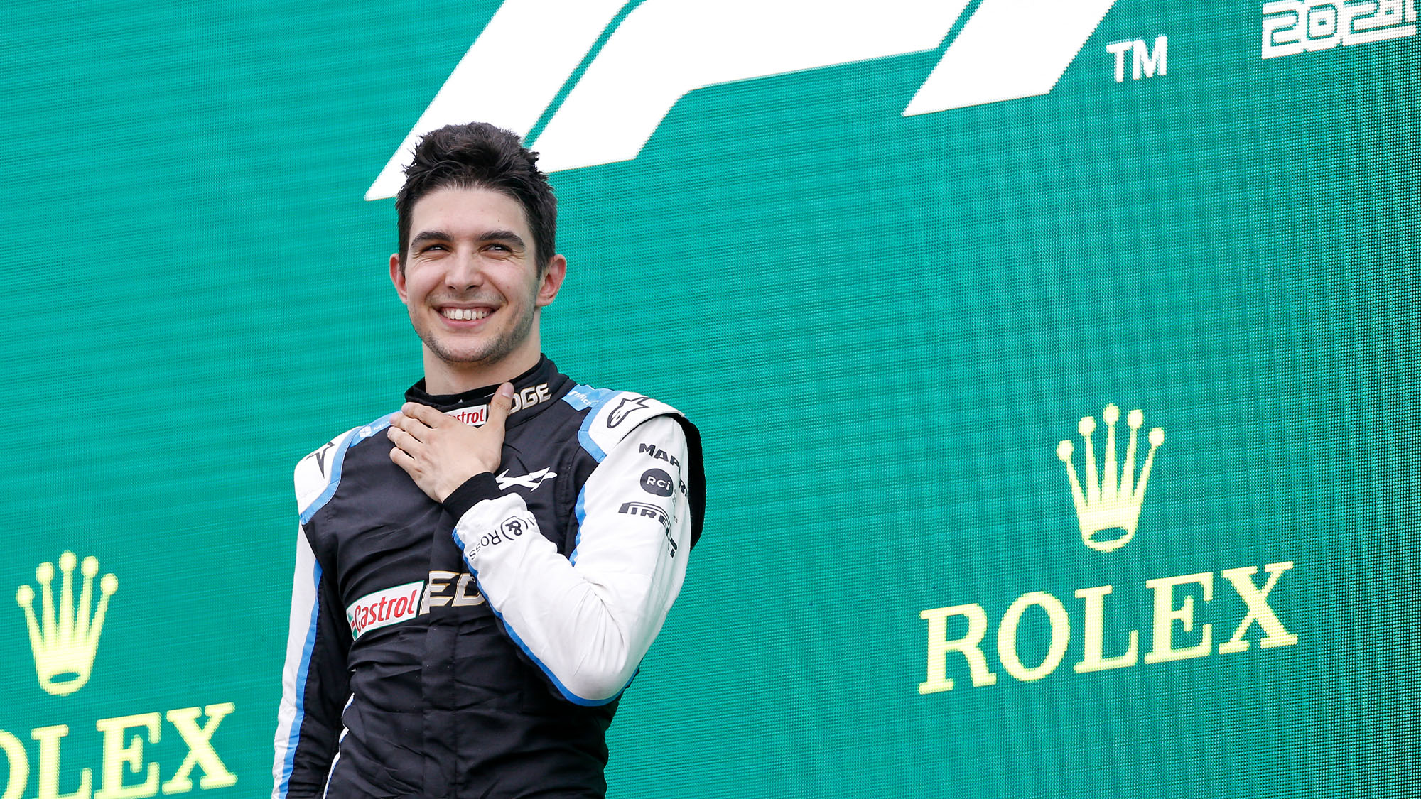 podium OCON Esteban (fra), Alpine F1 A521, portrait during the Formula 1 Magyar Nagydij 2021, Hungarian Grand Prix, 11th round of the 2021 FIA Formula One World Championship from July 30 to August 1, 2021 on the Hungaroring, in Mogyorod, near Budapest, Hungary - Photo DPPI