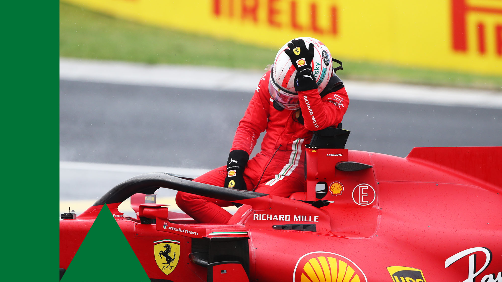 BUDAPEST, HUNGARY - AUGUST 01: Charles Leclerc of Monaco and Ferrari retires from the race during the F1 Grand Prix of Hungary at Hungaroring on August 01, 2021 in Budapest, Hungary. (Photo by Joe Portlock - Formula 1/Formula 1 via Getty Images)