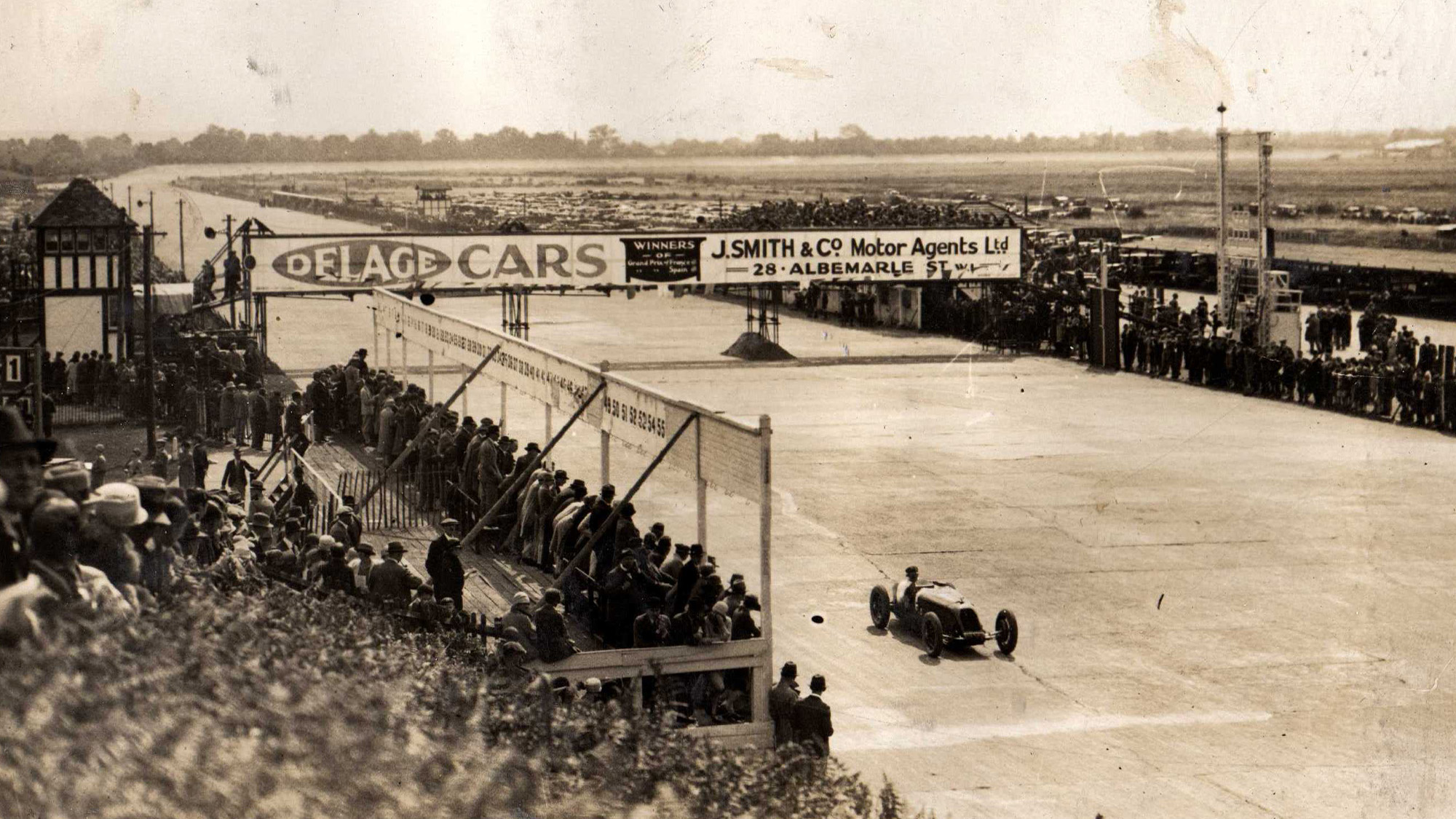 Scene of the first British grand prix at Brooklands in 1926