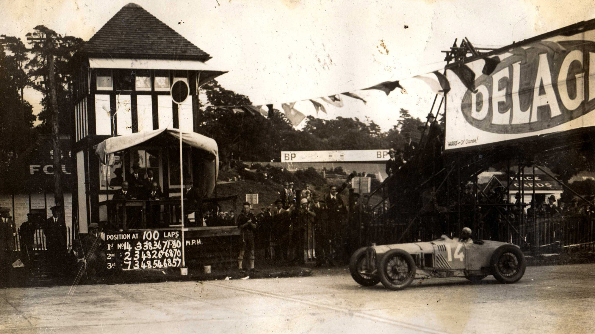 Delage of Senechal crosses the line to win the first British Grand Prix at Brooklands in 1926