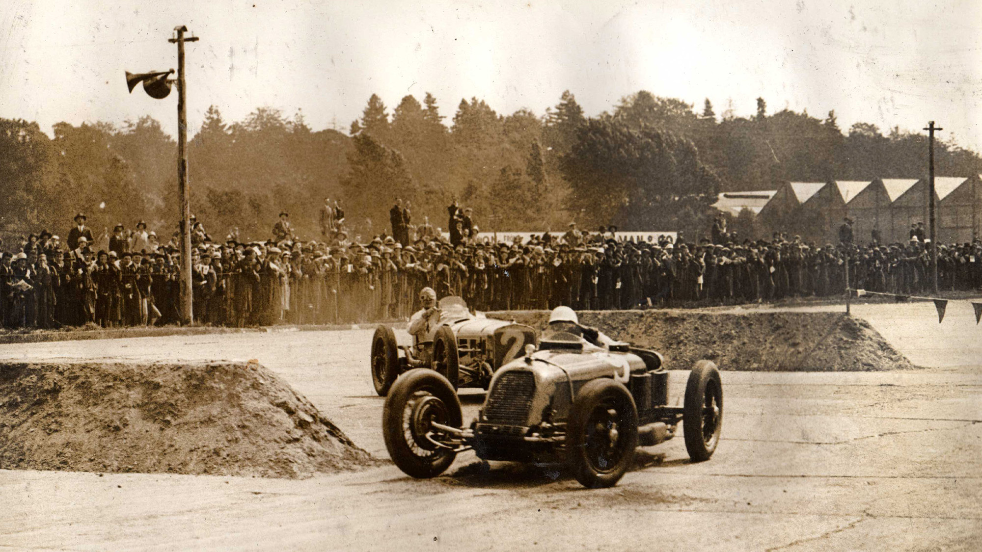 Henry Segrave and Robert Benoist during the first British Grand Prix at Brooklands in 1926