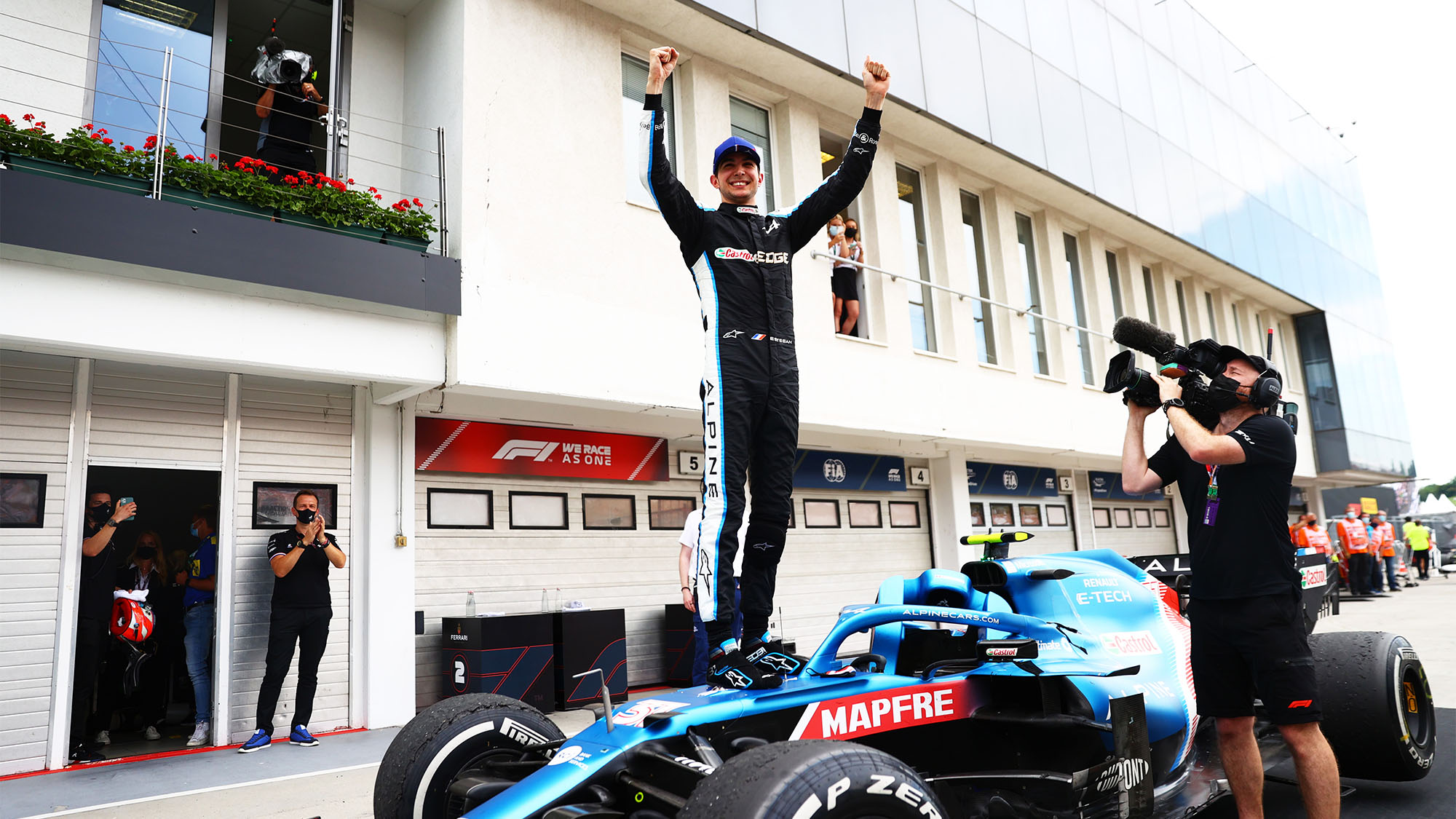 BUDAPEST, HUNGARY - AUGUST 01: Race winner Esteban Ocon of France and Alpine F1 Team celebrates in parc ferme during the F1 Grand Prix of Hungary at Hungaroring on August 01, 2021 in Budapest, Hungary. (Photo by Dan Istitene - Formula 1/Formula 1 via Getty Images)