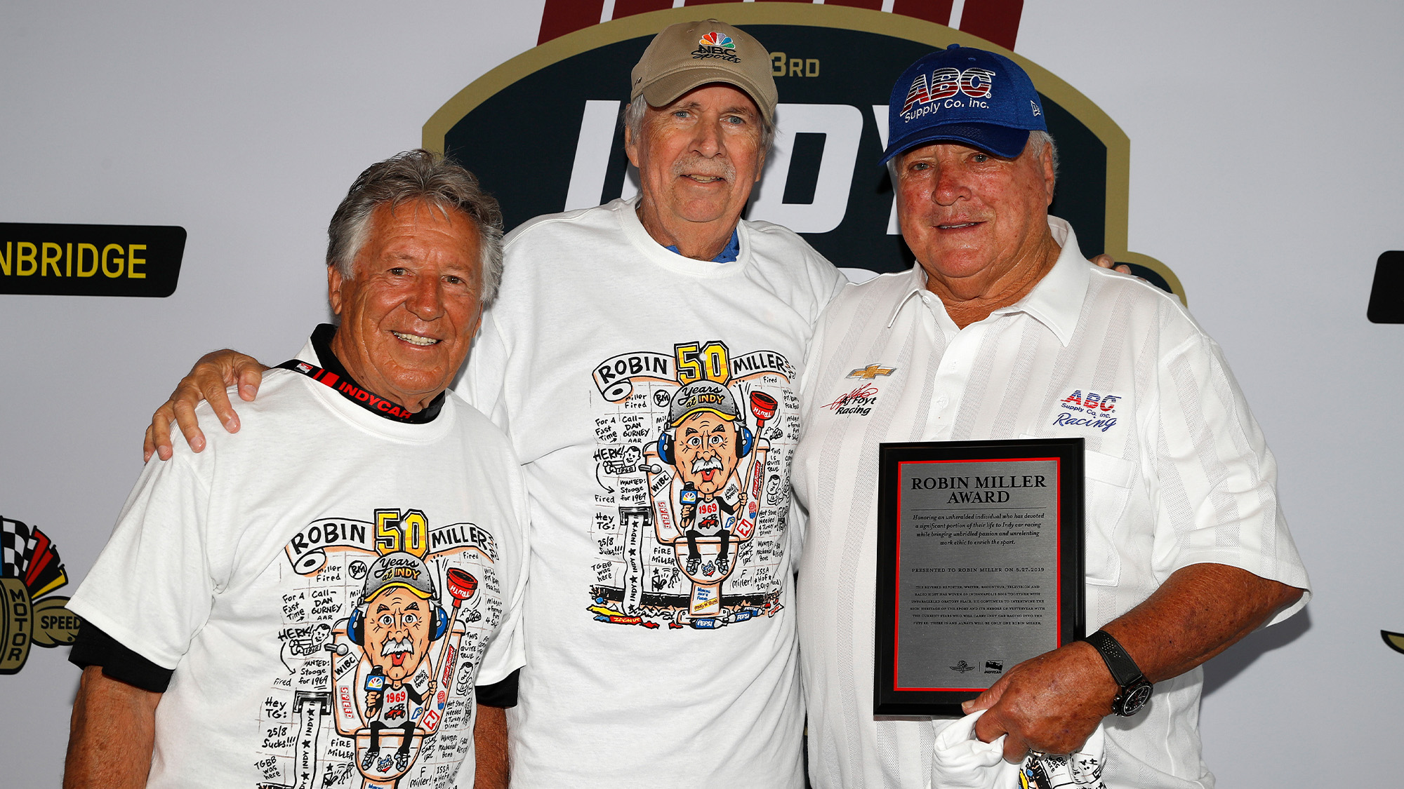 Robin Miller with Mario Andretti and AJ Foyt
