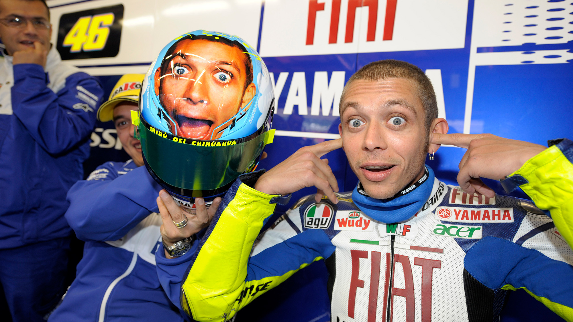 Valentino Rossi alongside a helmet with his face at Mugello in 2008