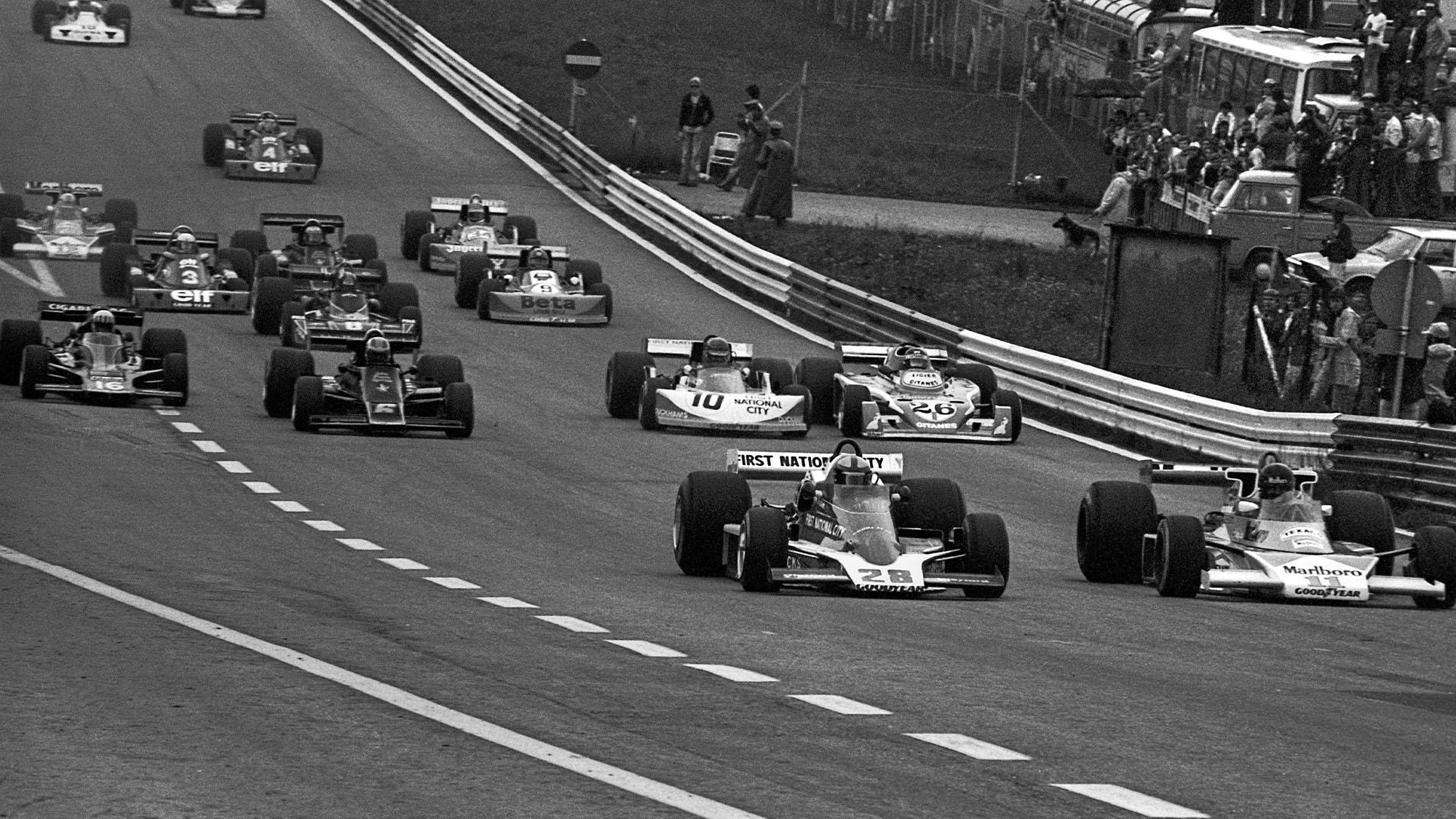 John Watson, James Hunt, Penske PC4, McLaren-Ford M23, Grand Prix of Austria, Zeltweg, 15 August 1976. (Photo by Bernard Cahier/Getty Images)
