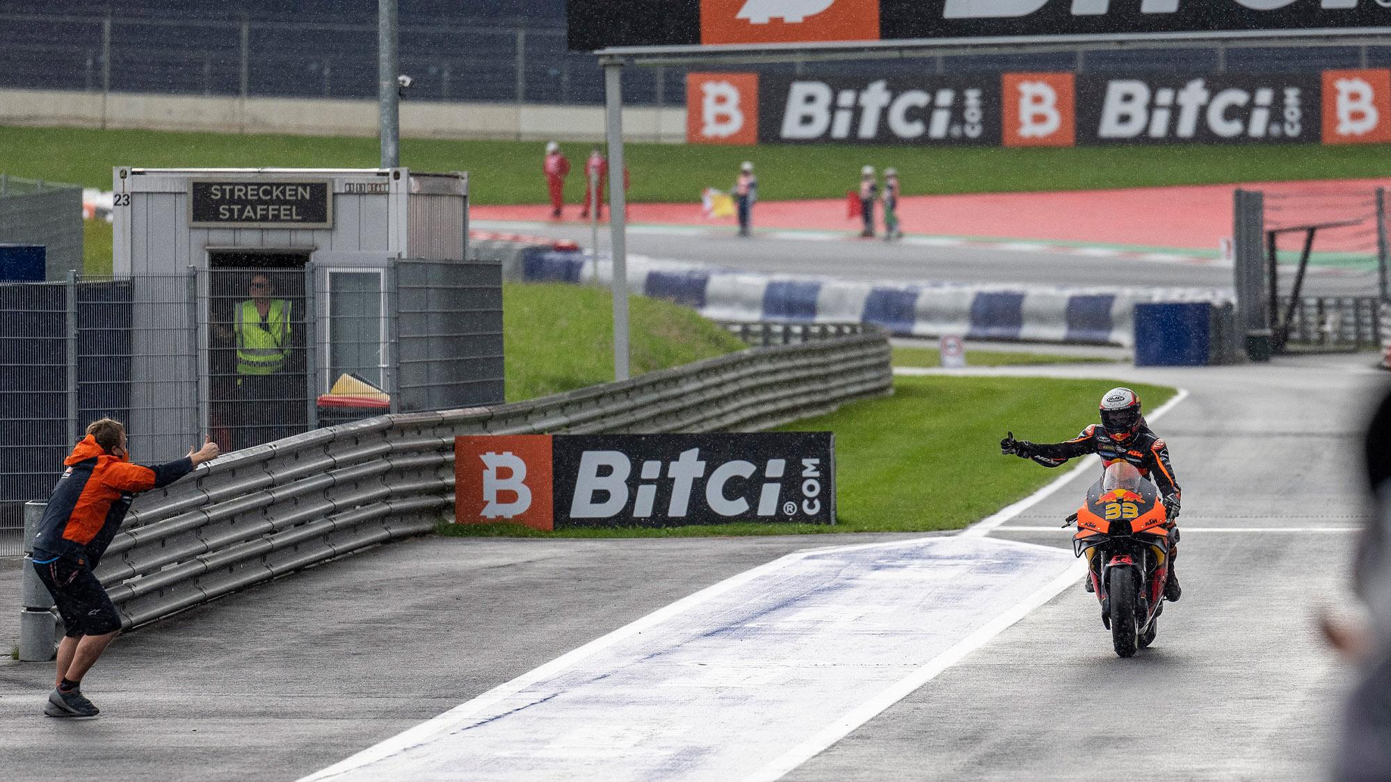 Brad Binder celebrates winning the 2021 MotoGP Austrian GP