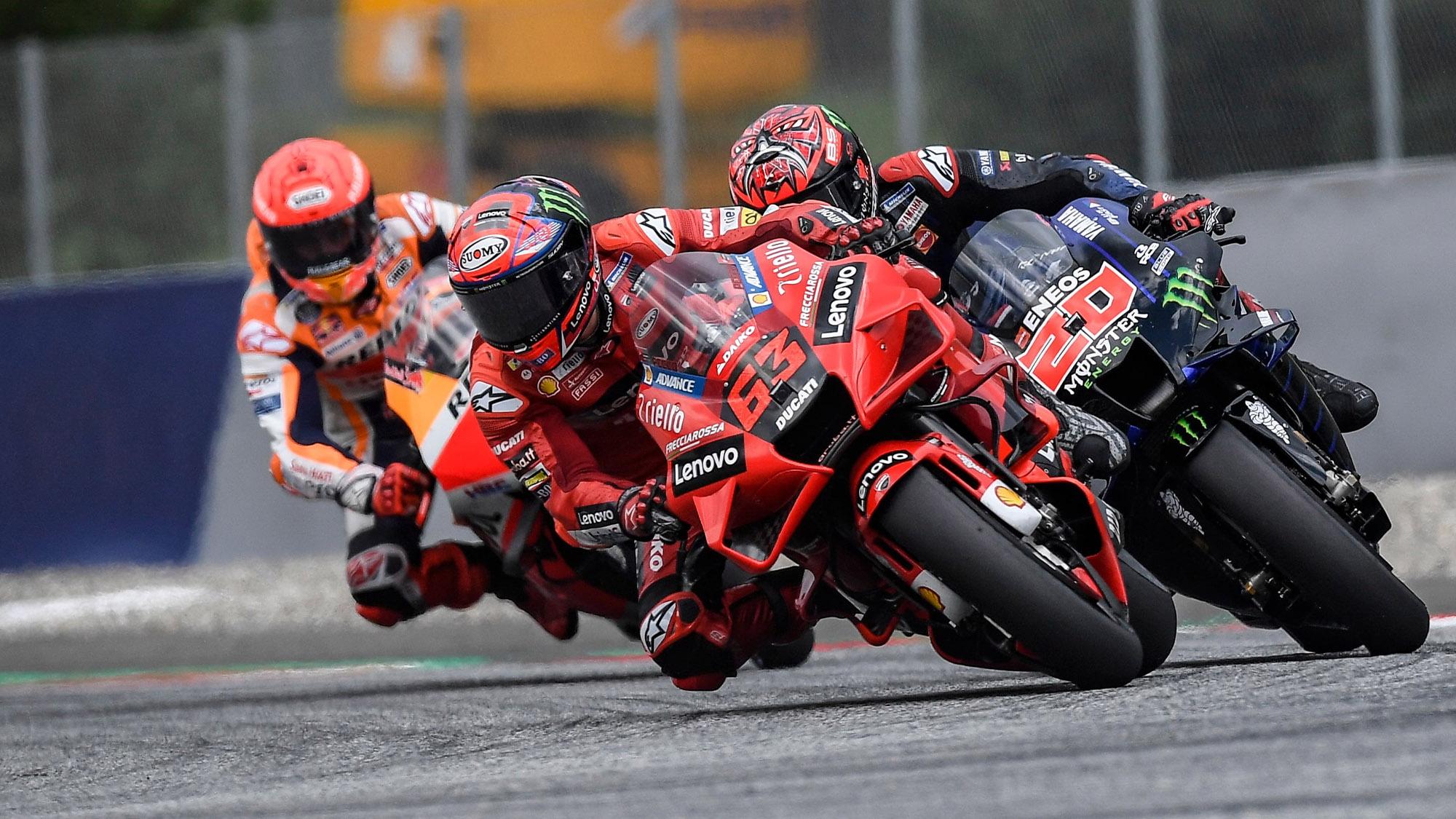 Bagnaia Quartararo Marquez in the 2021 MotoGP Austrian GP