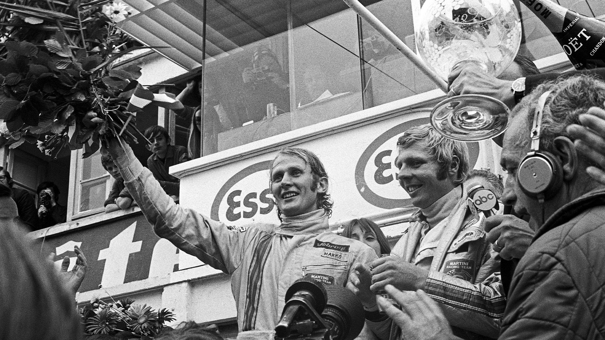 Helmu Marko and Gijs van Lennep after winning Le Mans in 1971