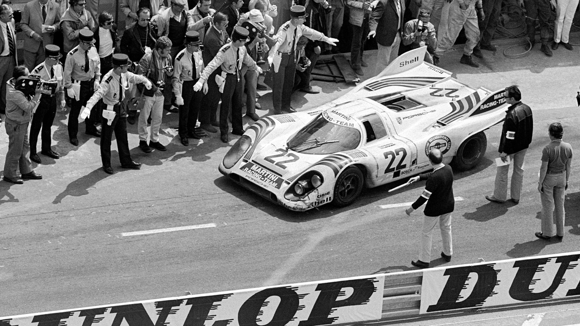 Martini Porsche 917 leaving Le Mans pits in 1971