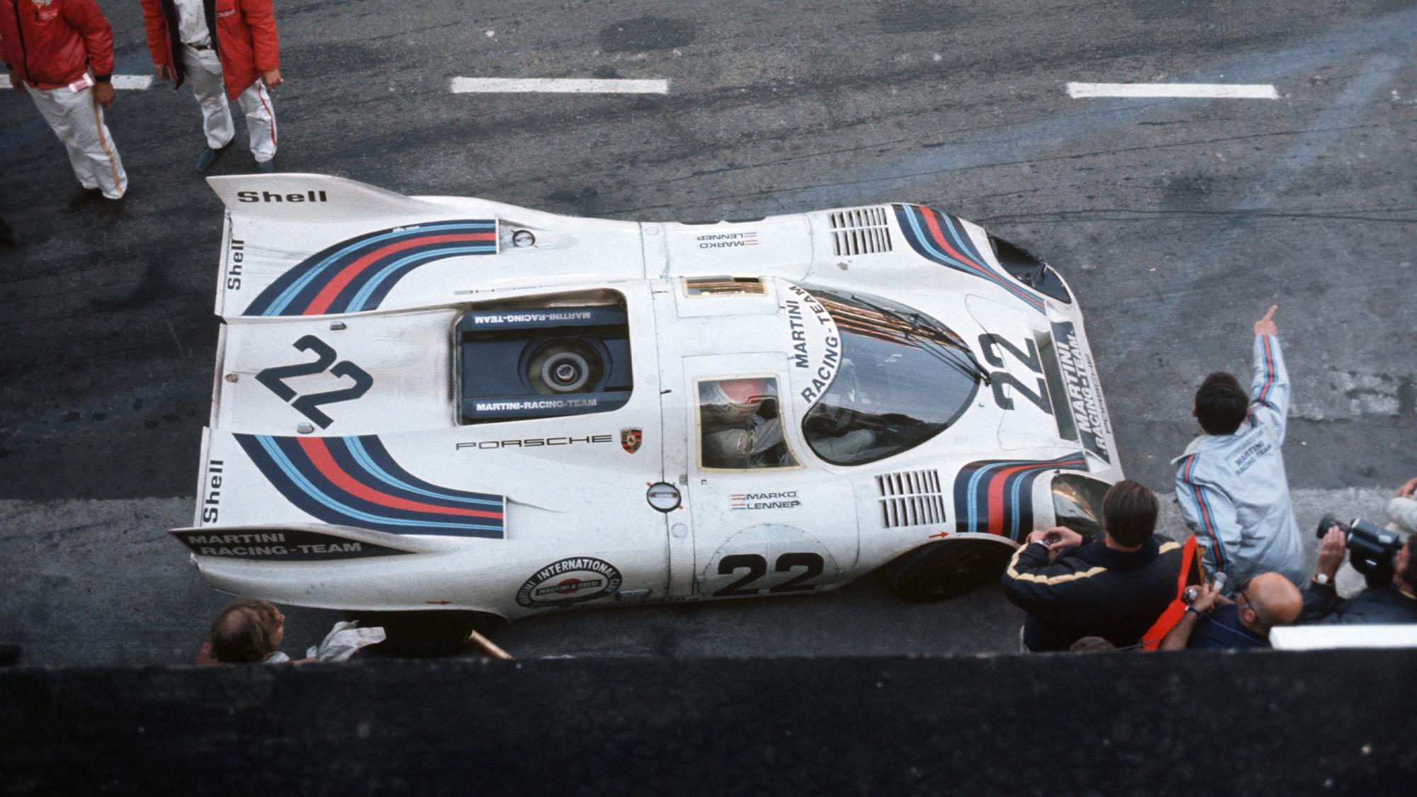 Martini Porsche 917 in the pits Le Mans 1971