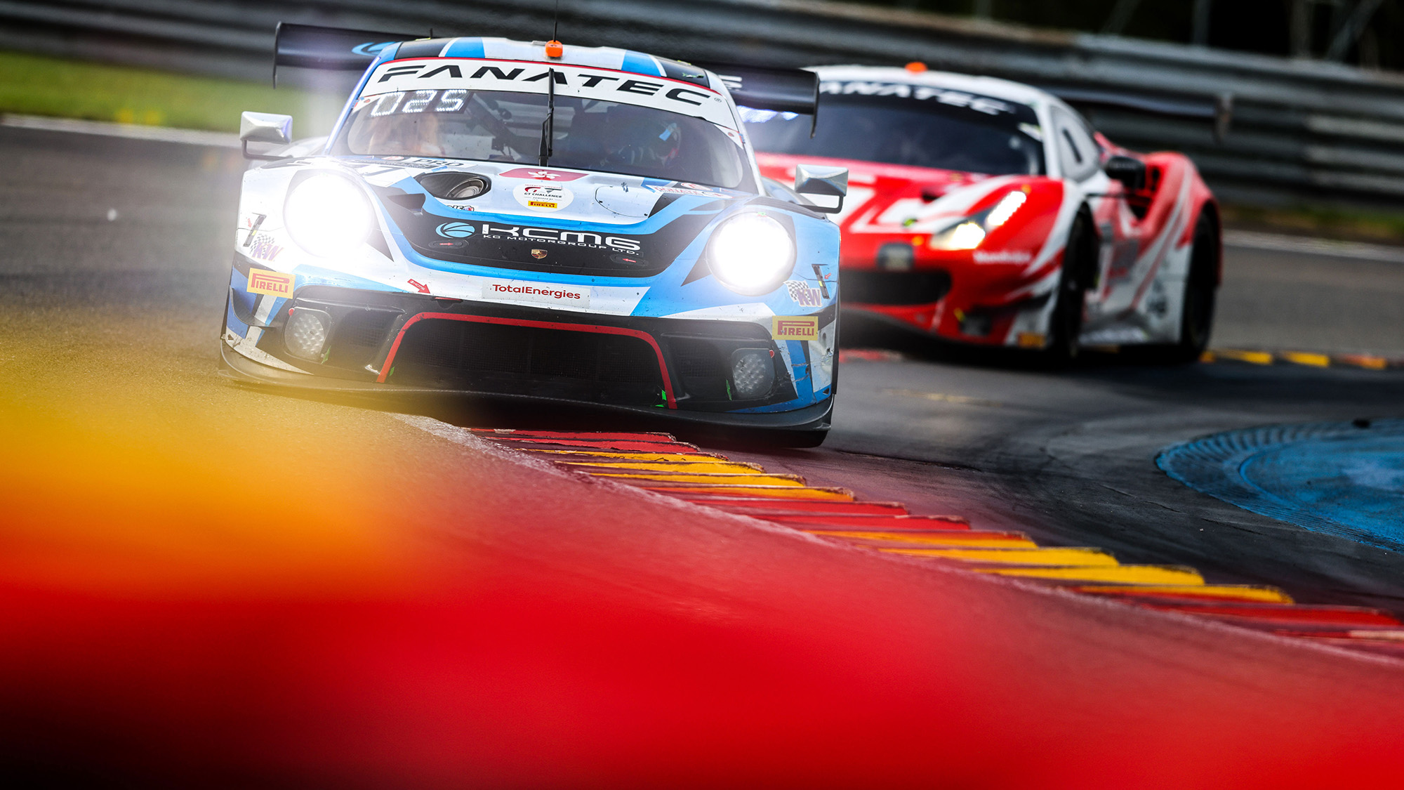Porsche and Ferrari GT3 cars at Spa 24h 2021