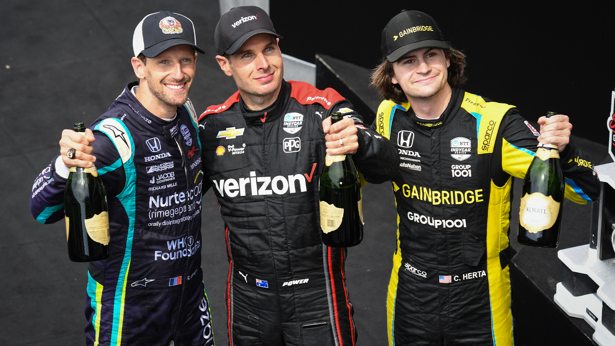 Romain Grosjean with Will Power and Colton Herta after 2021 Indianapolis road course GP