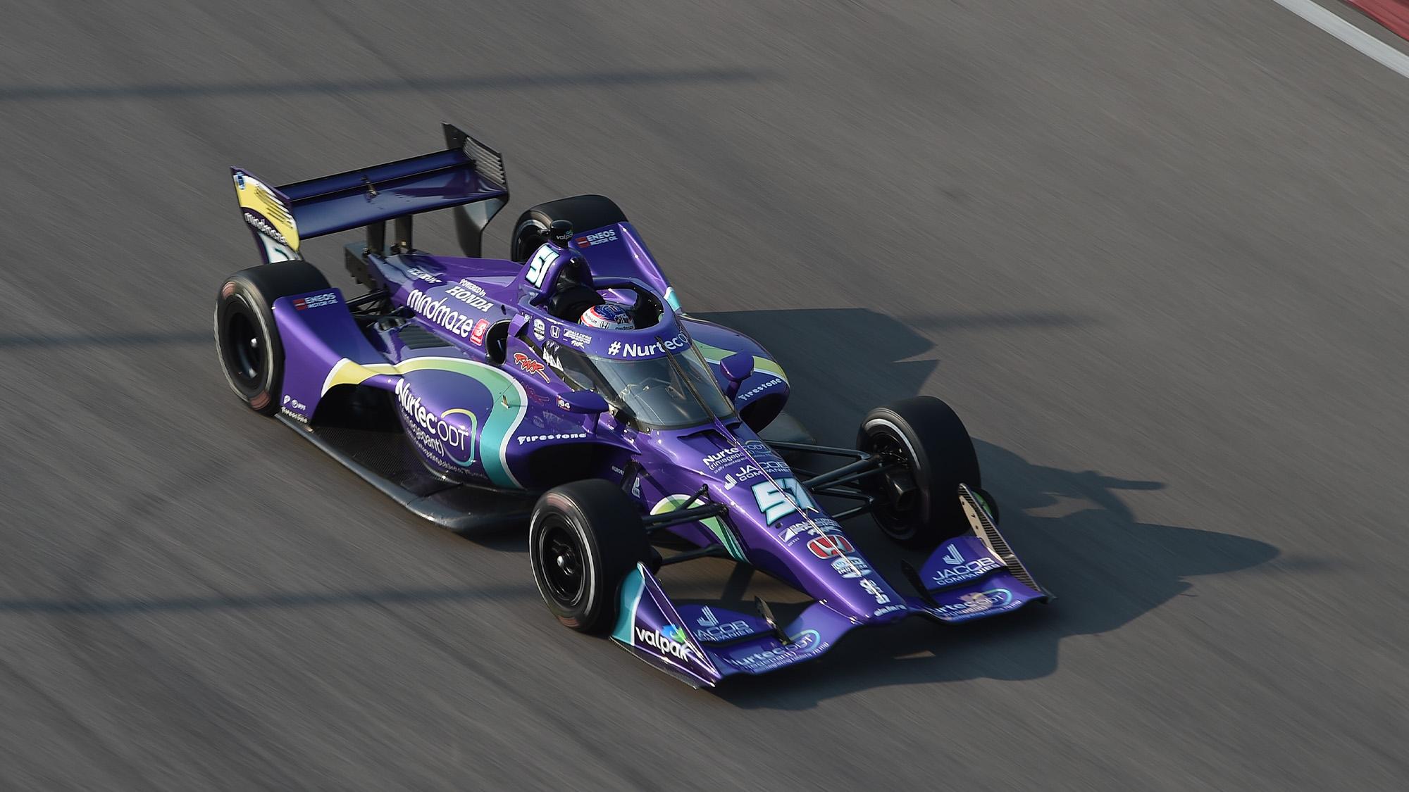 Romain Grosjean on track at the 2021 IndyCar Gateway oval test