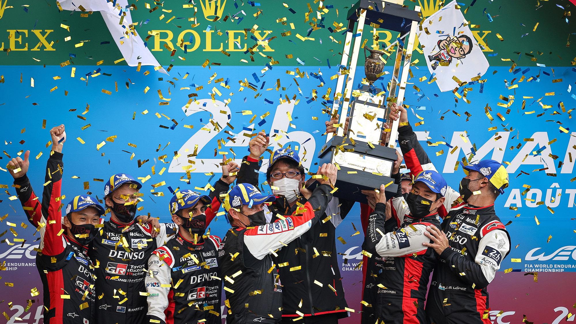 Toyota podium celebration at 2021 Le Mans 24 Hours