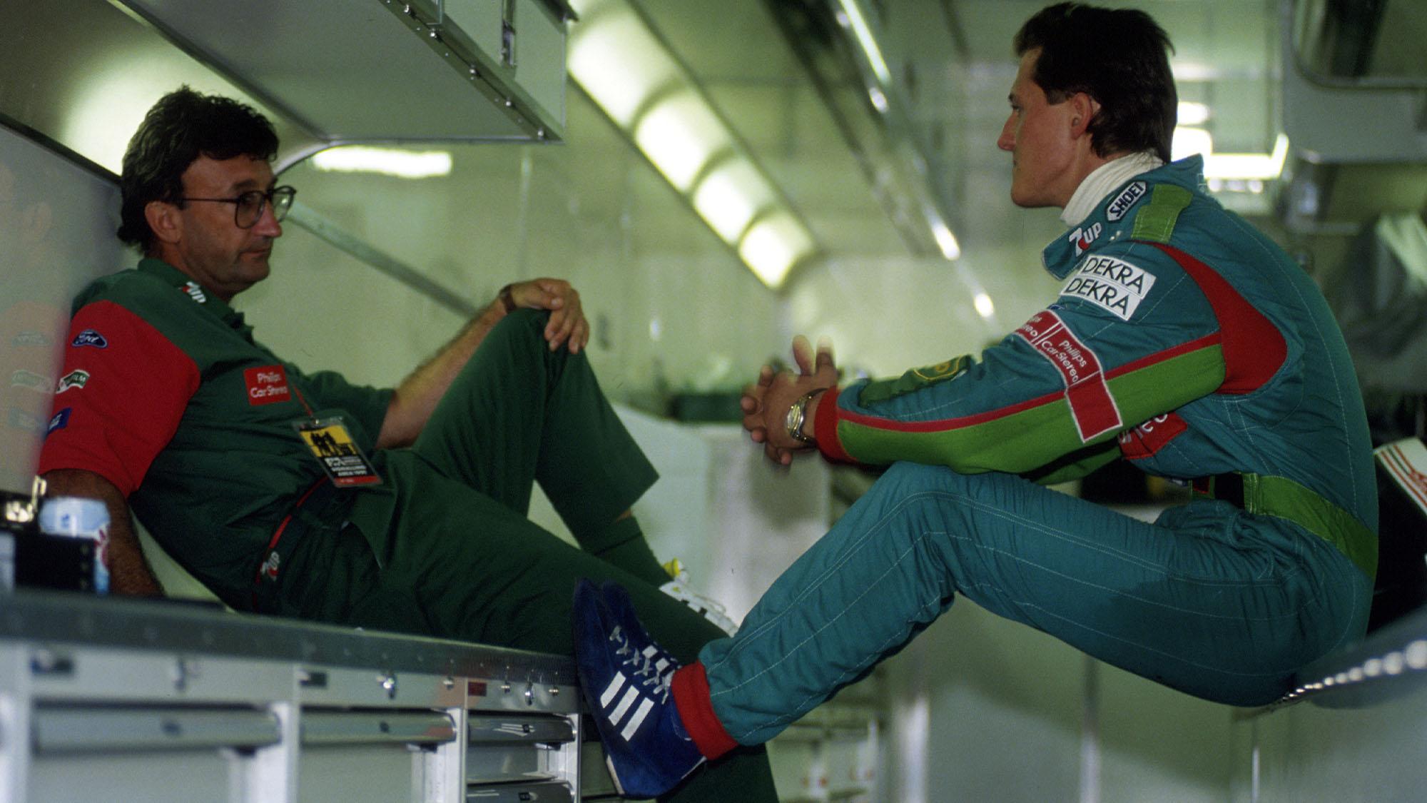 Formel 1, Grand Prix Belgien 1991, Spa-Francorchamps, 25.08.1991 Jordan-LKW Eddie Jordan Michael Schumacher www.hoch-zwei.net , copyright: HOCH ZWEI / Ronco (Photo by Hoch Zwei/Corbis via Getty Images)