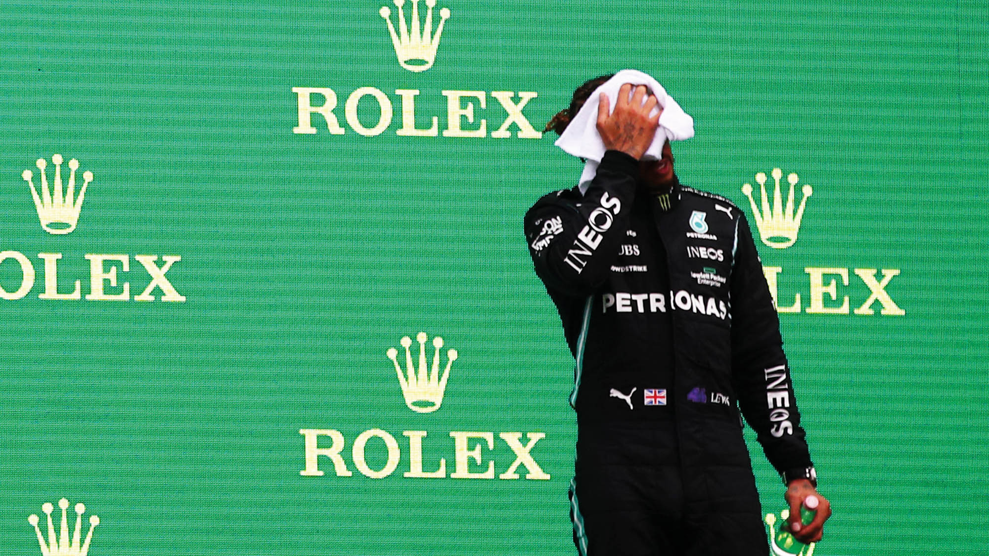 Lewis Hamilton on the podium after the 2021 Hungarian Grand Prix