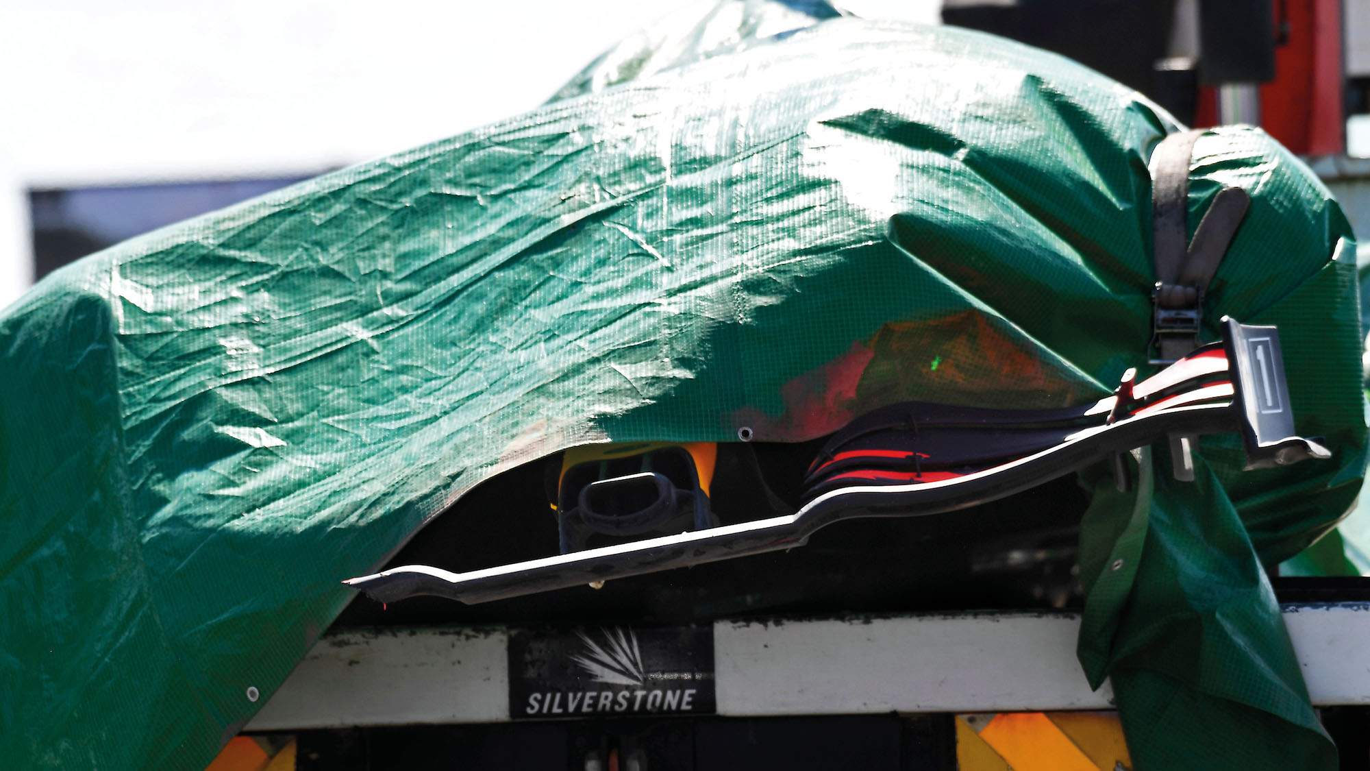 Wreckage of Max Verstappens Red Bull at the 2021 British Grand Prix