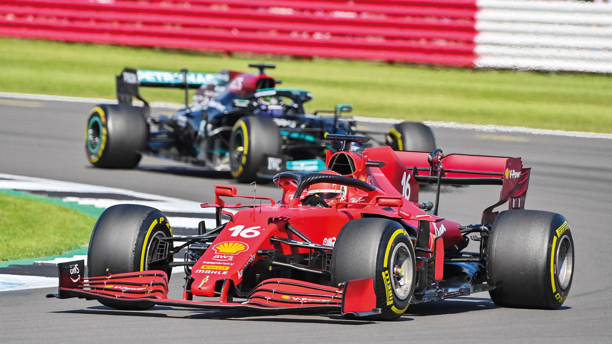 Charles Leclerc ahead of Lewis Hamilton at the 2021 British Grand Prix