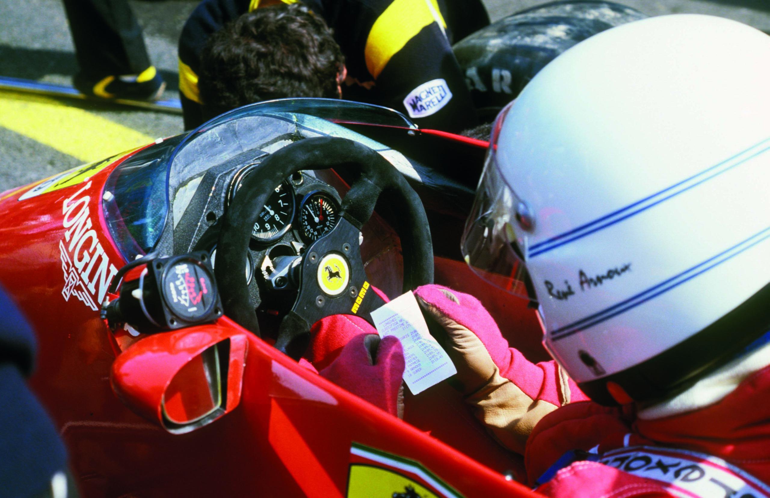 Rene-Arnoux-checks-lap-times-at-Spa