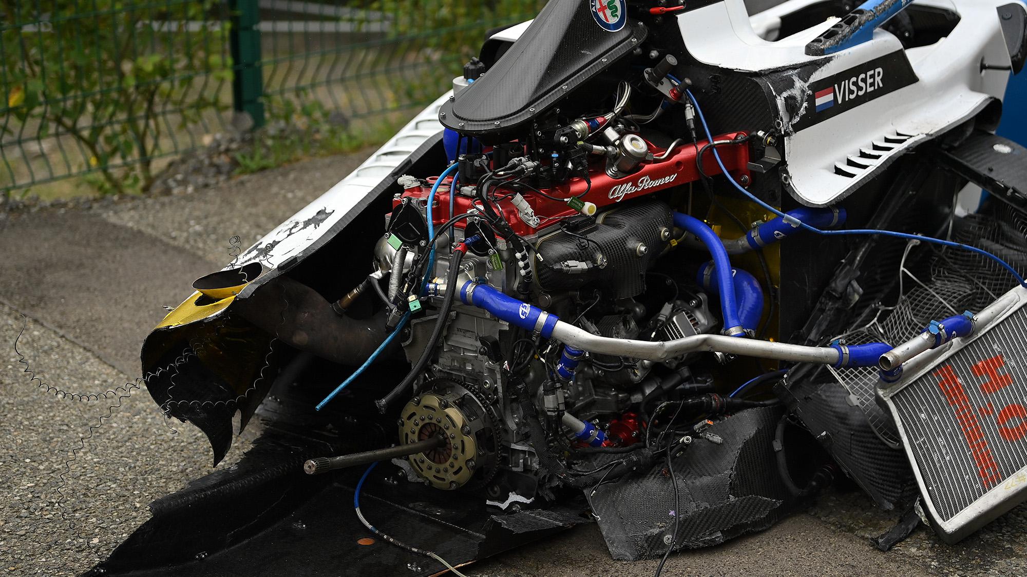 Wreckage of Beitske Visser W Series car at Spa 2021