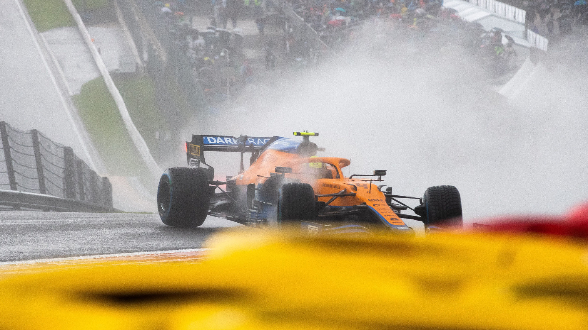 Lando Norris spins off in qualifying for the 2021 Belgian Grand Prix